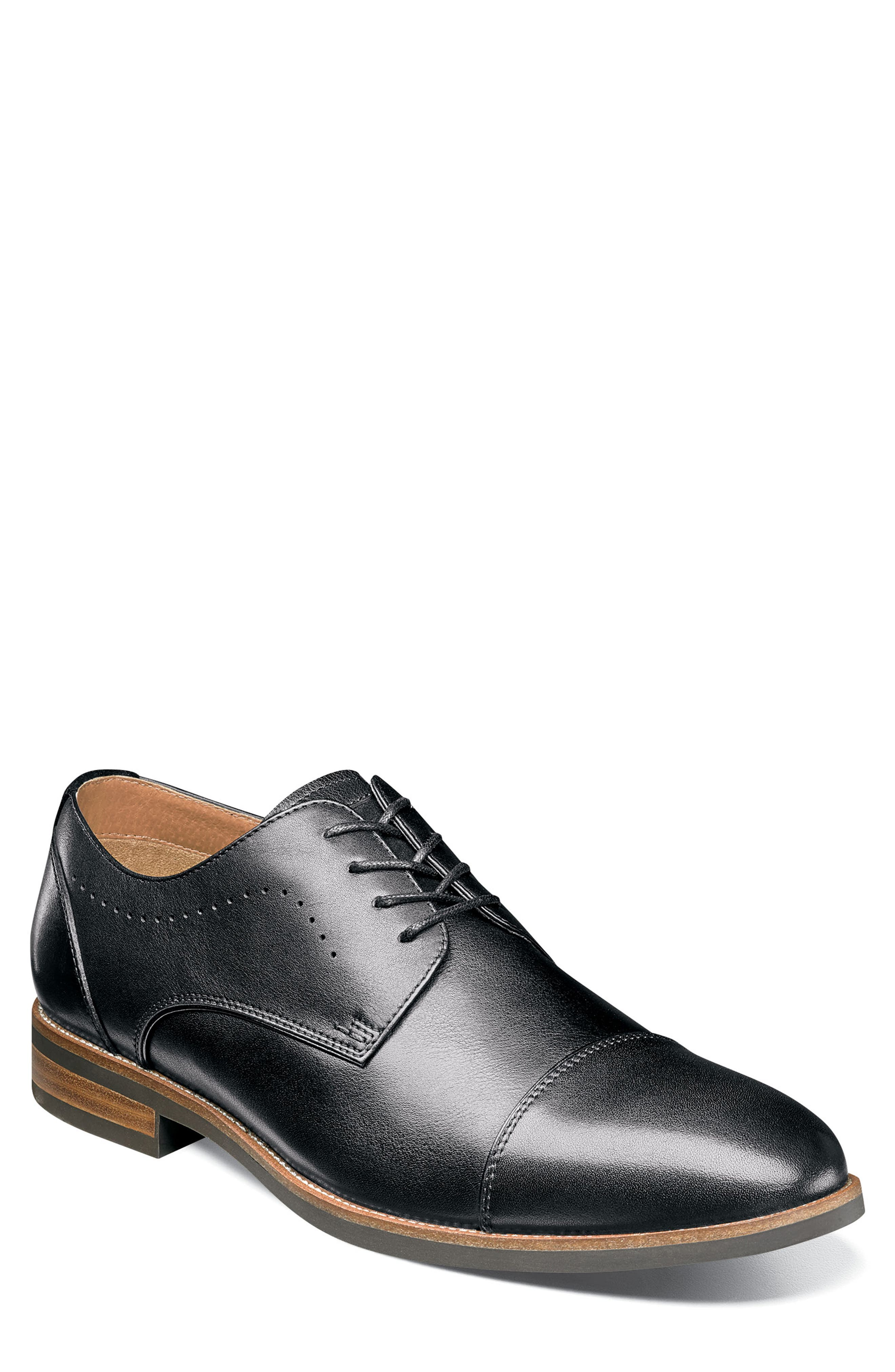 Uptown Cap Toe Derby,                         Main,                         color, BLACK LEATHER