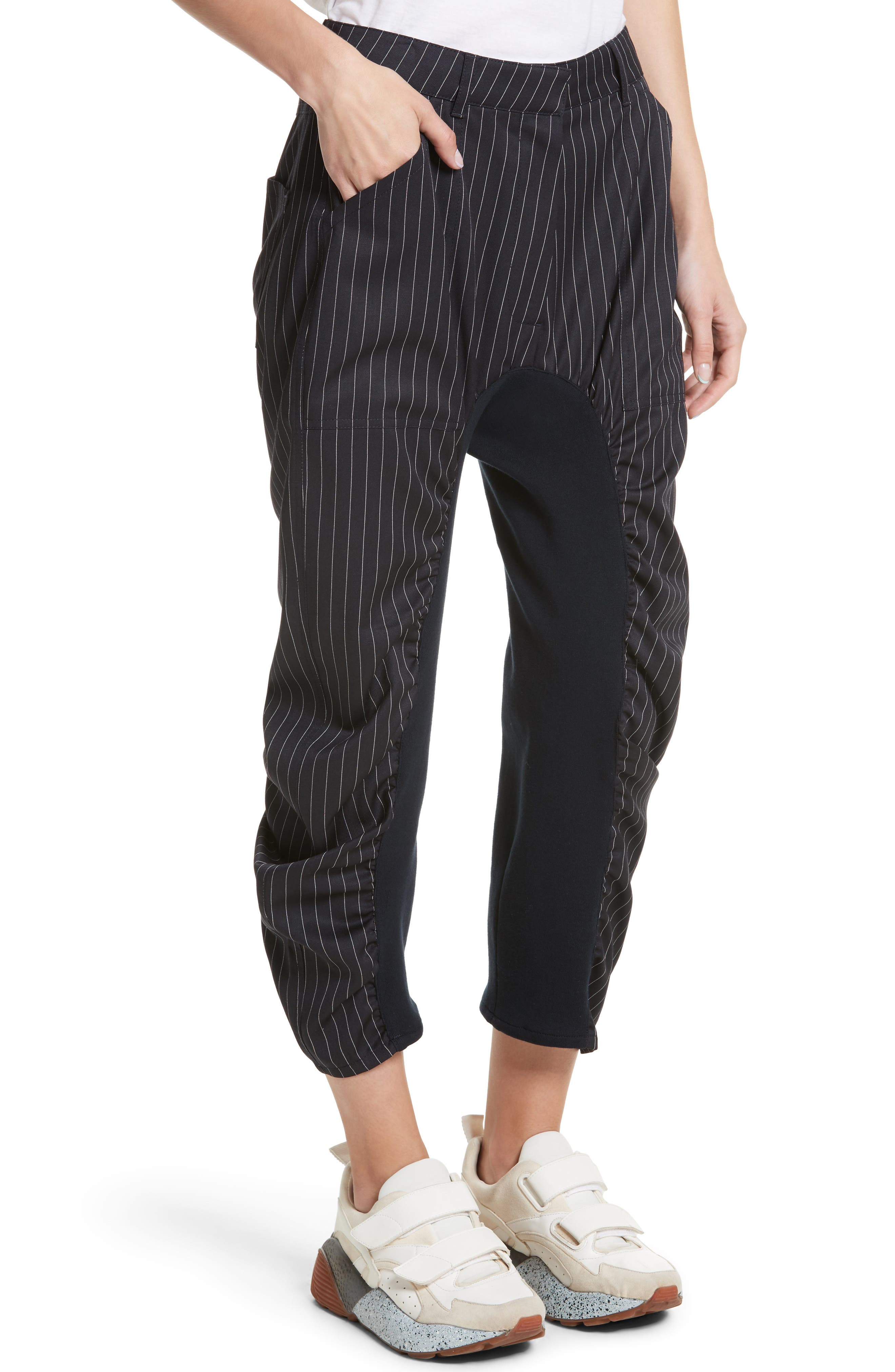 Ruched Pinstripe Trousers,                             Alternate thumbnail 4, color,                             010