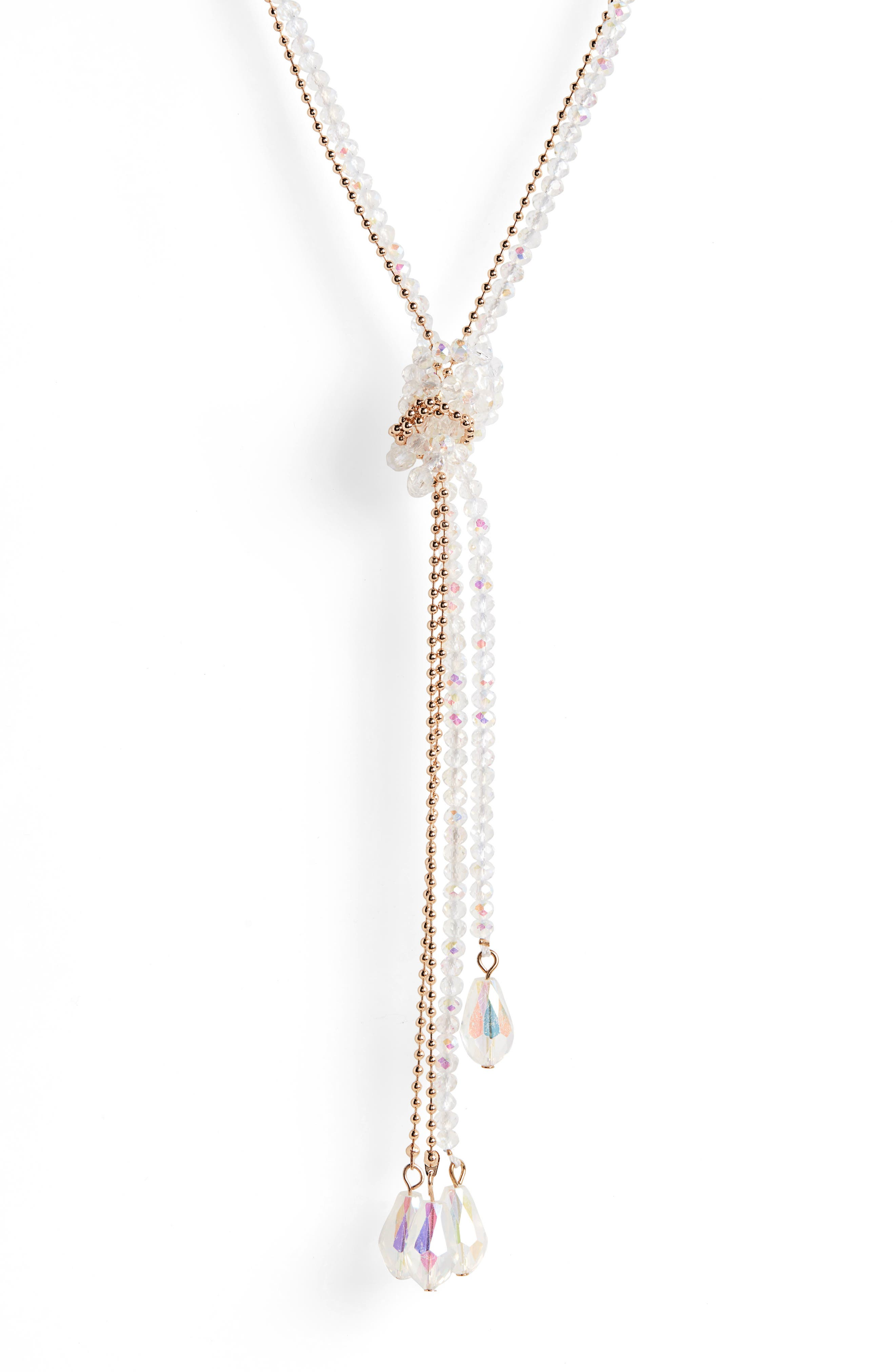 Frankie Tie Beaded Lariat Necklace,                             Alternate thumbnail 2, color,                             GOLD/ CRYSTAL