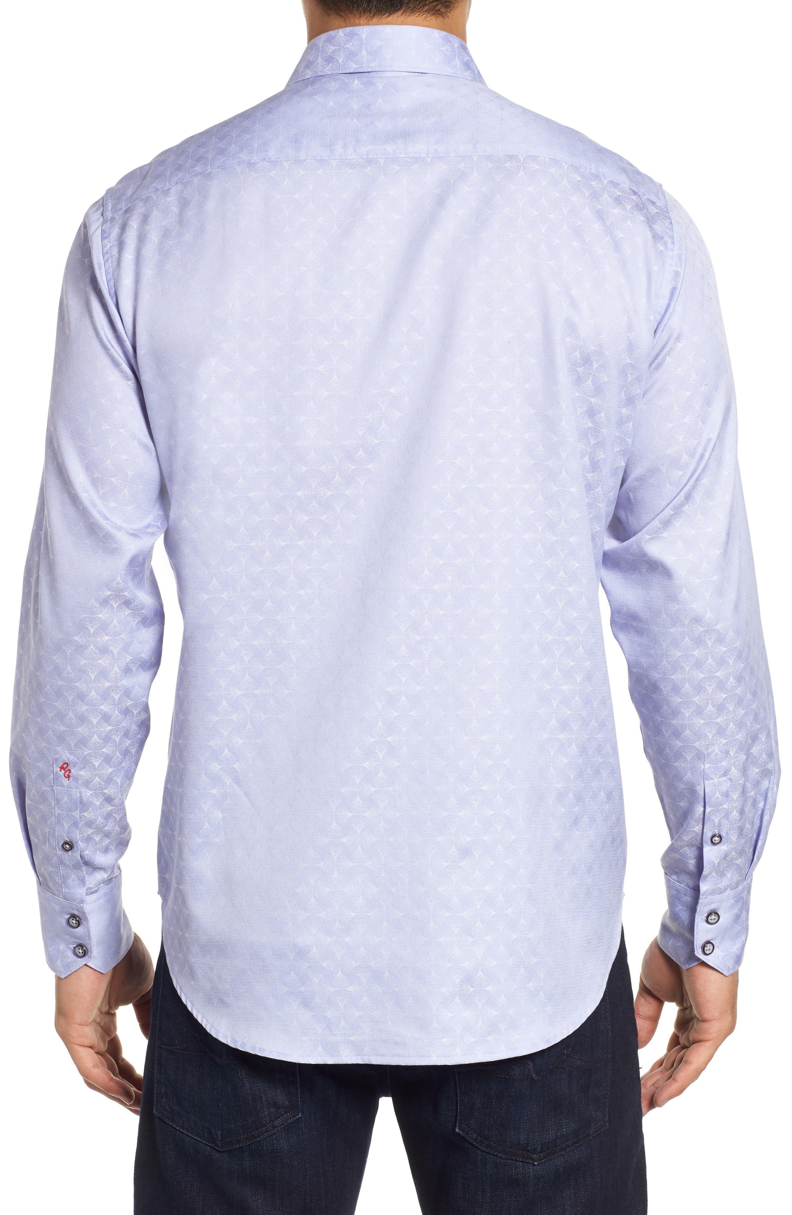 Diamante Classic Fit Print Sport Shirt,                             Alternate thumbnail 3, color,                             LILAC