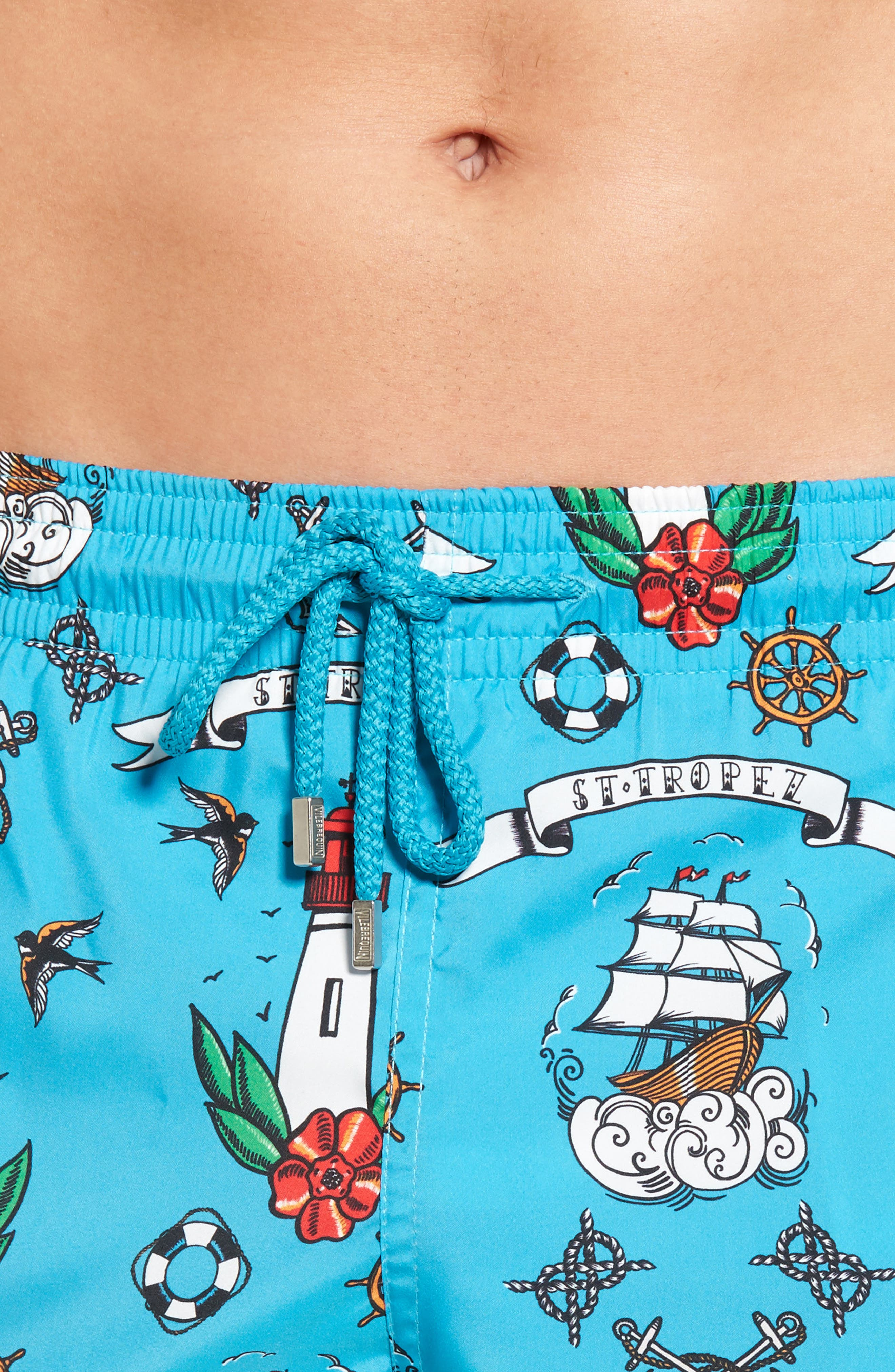 Tattoo Sashimi Swim Trunks,                             Alternate thumbnail 4, color,