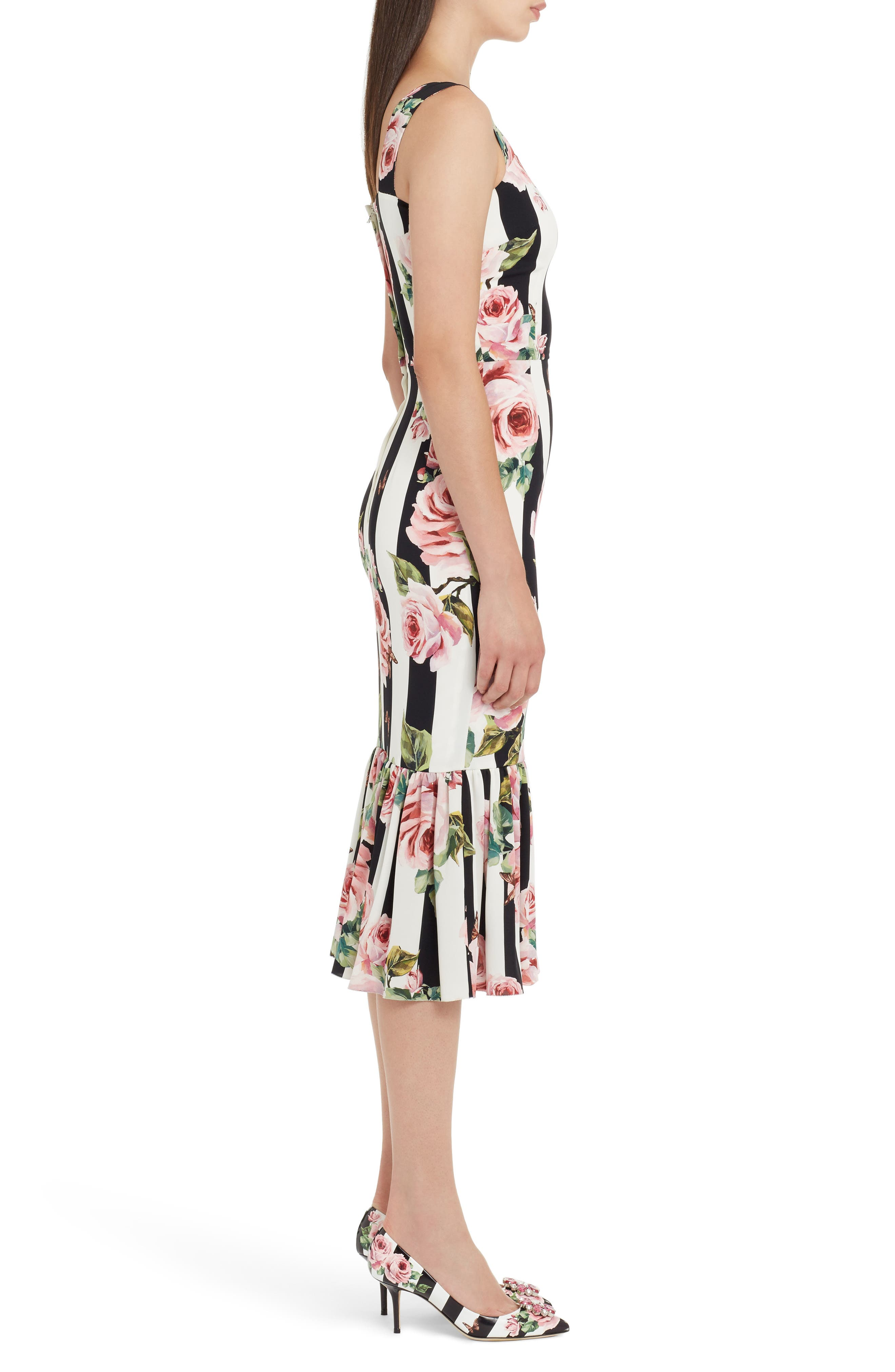 Stripe Rose Print Stretch Silk Dress,                             Alternate thumbnail 3, color,                             115