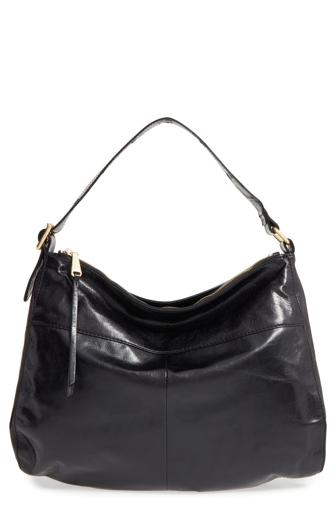 'Quincy' Leather Hobo,                             Main thumbnail 1, color,                             001