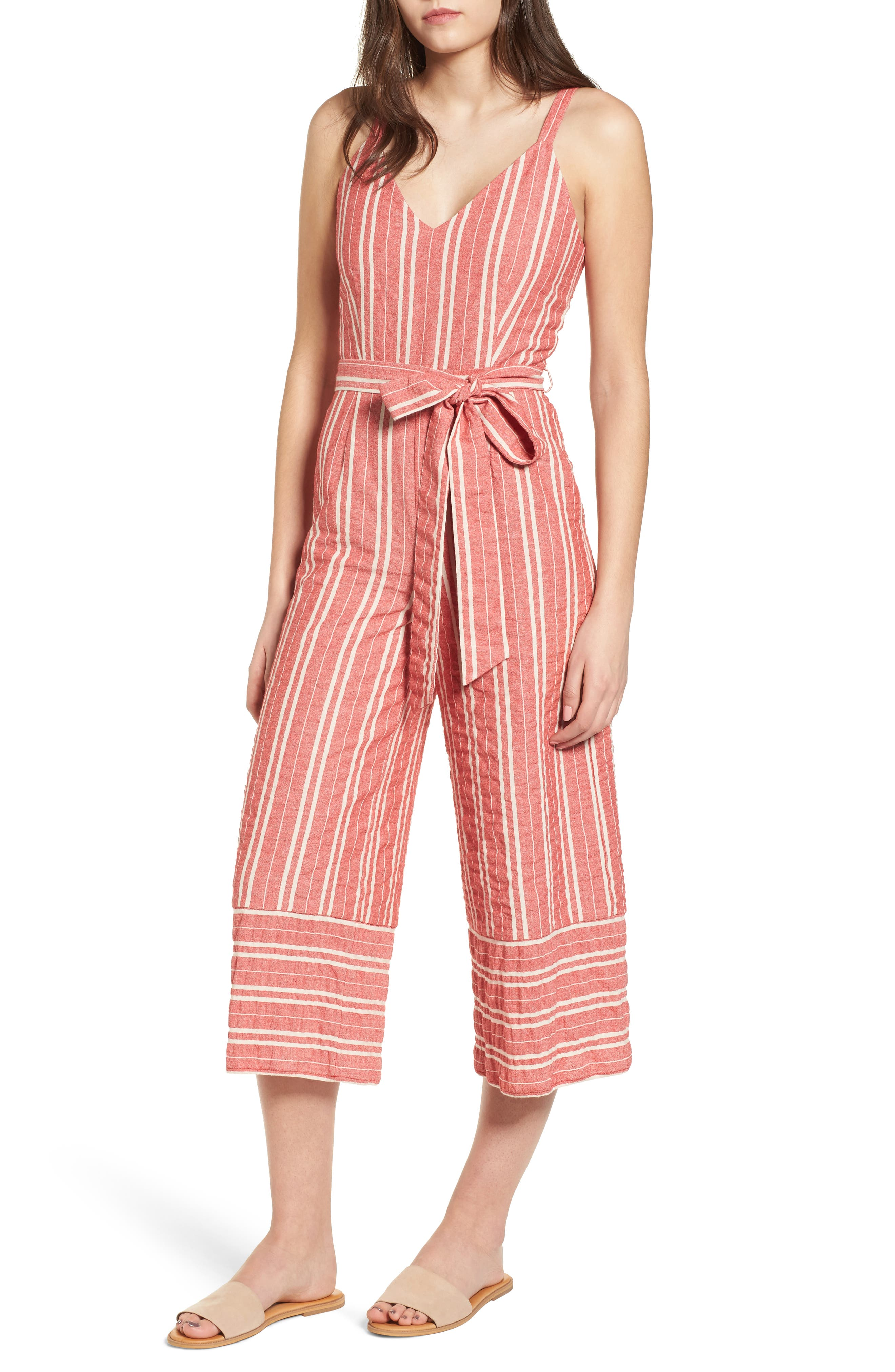 Robin Stripe Crop Jumpsuit,                         Main,                         color, RED