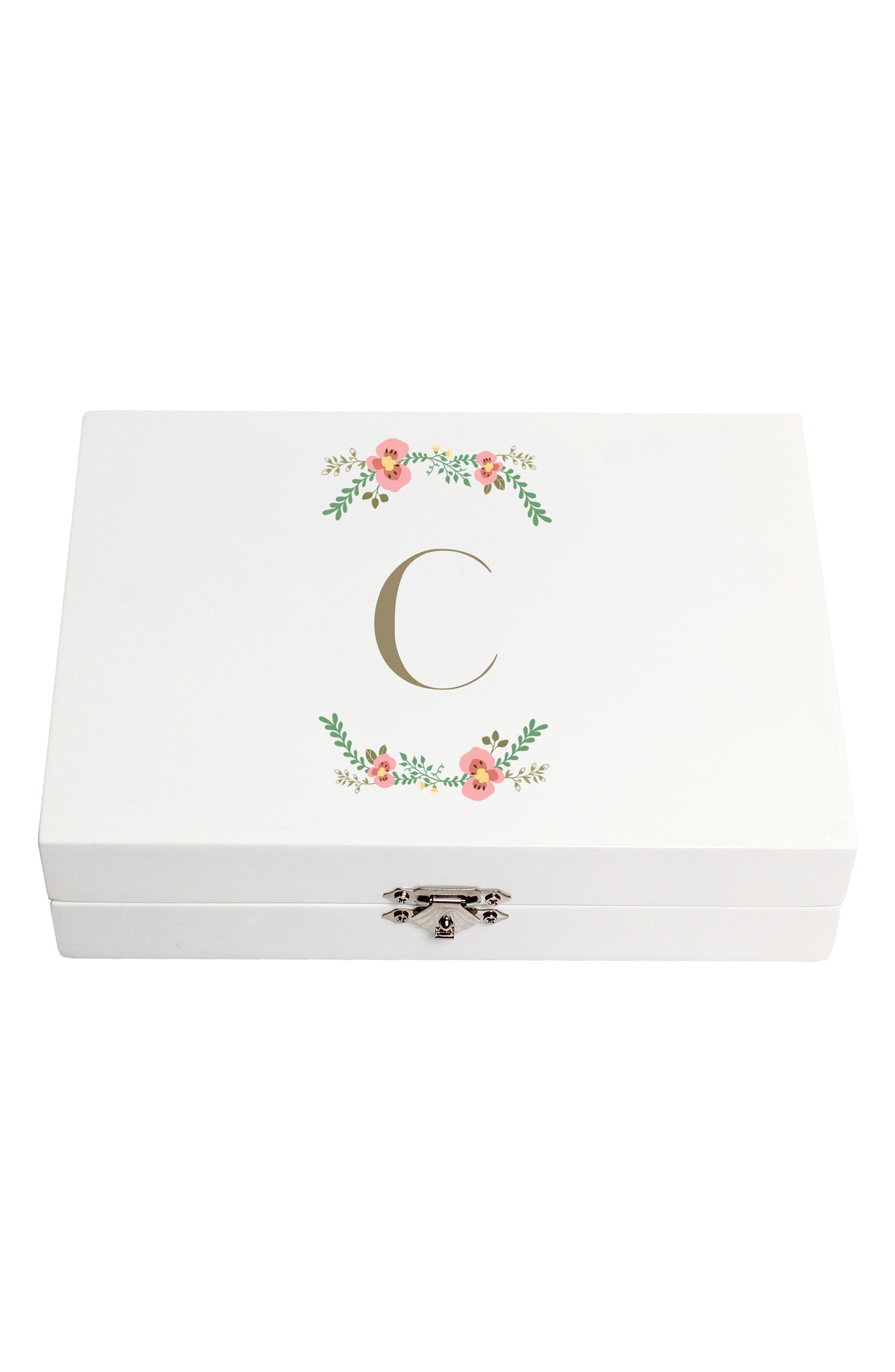Monogram Floral Wedding Ring Box,                             Main thumbnail 3, color,