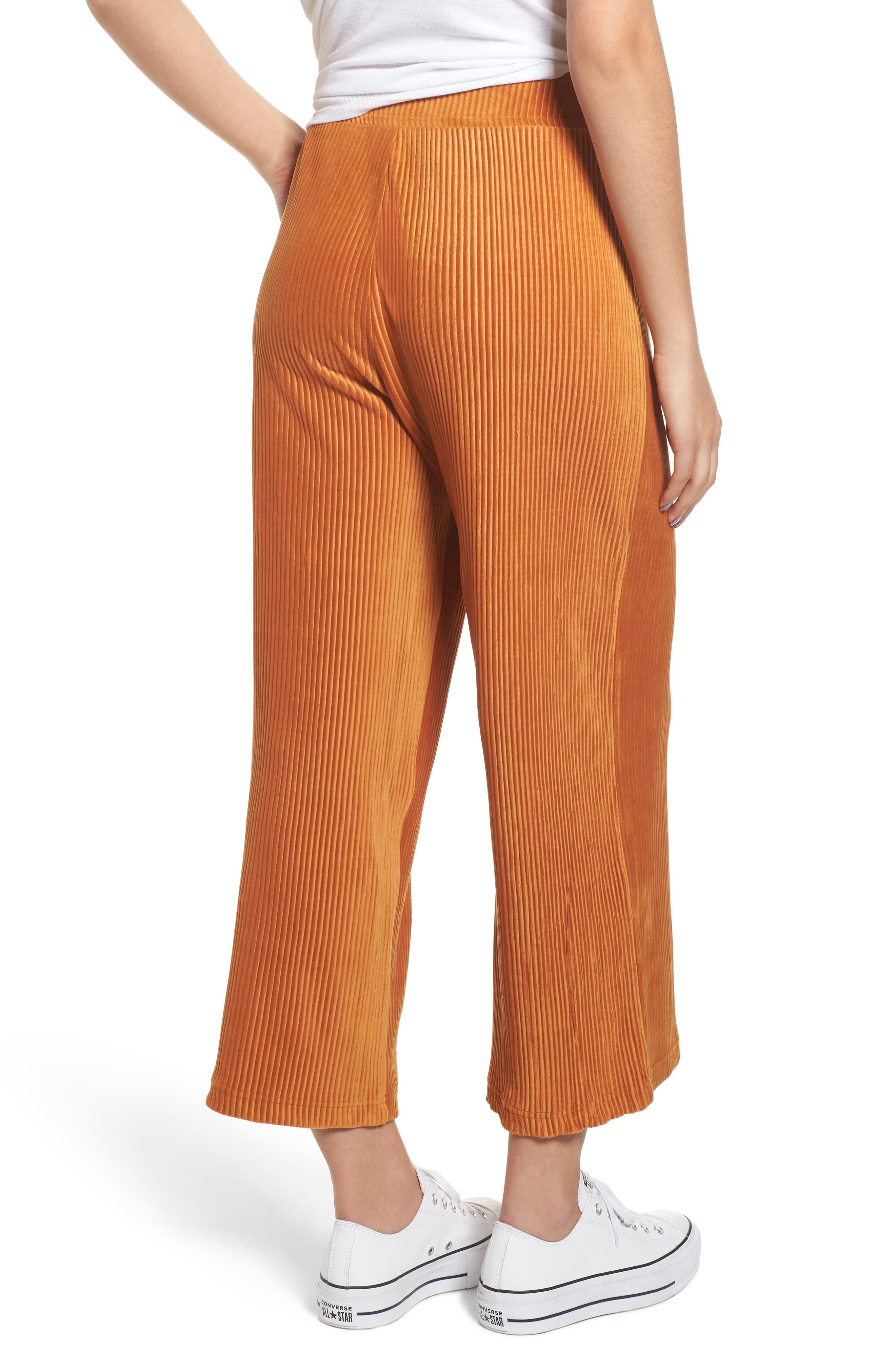 High Rise Knit Corduroy Crop Pants,                             Alternate thumbnail 3, color,                             RUST CIDER