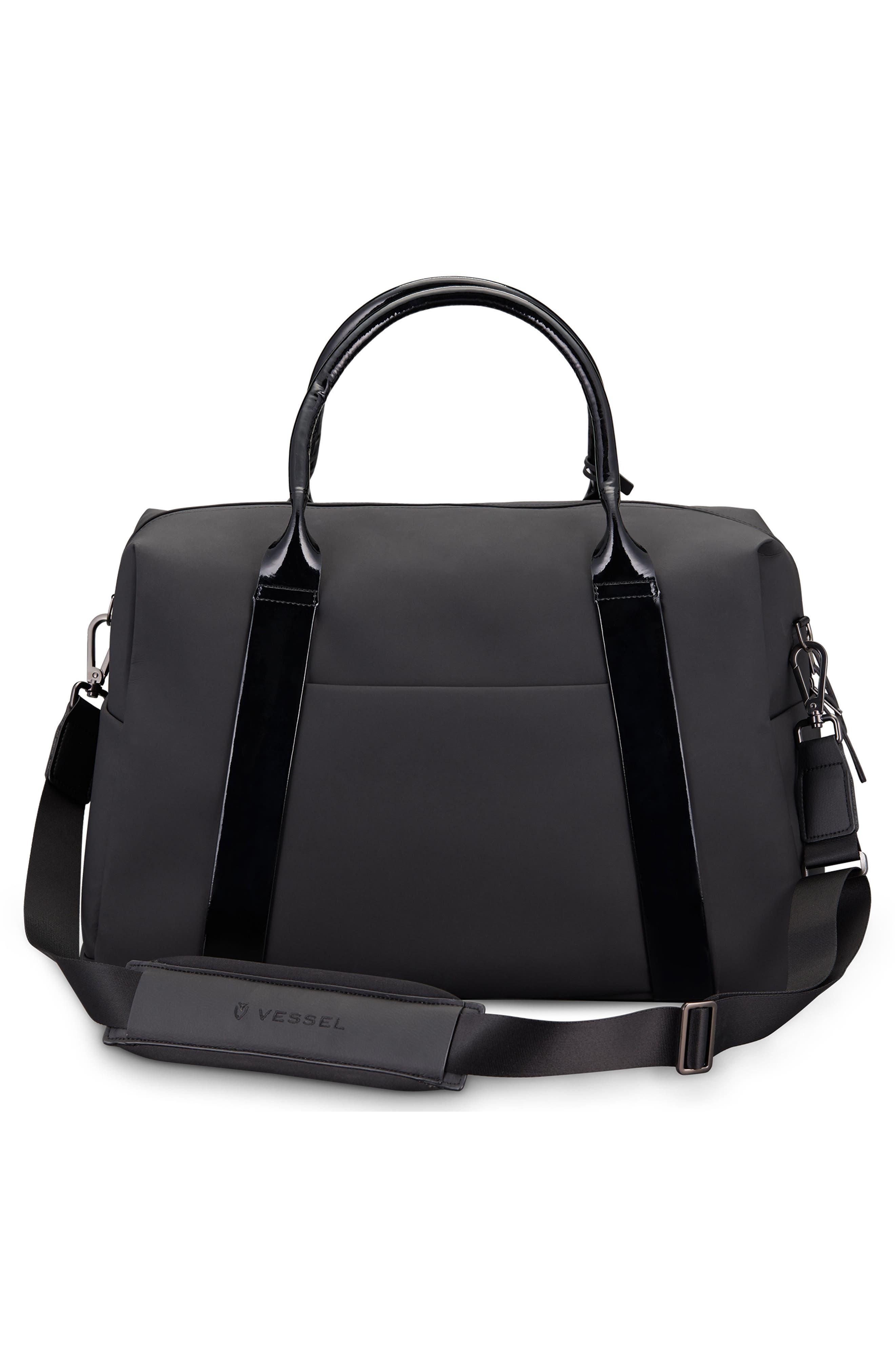 Signature 2.0 Faux Leather Duffel Bag,                             Alternate thumbnail 2, color,                             MATTE/ PATENT BLACK