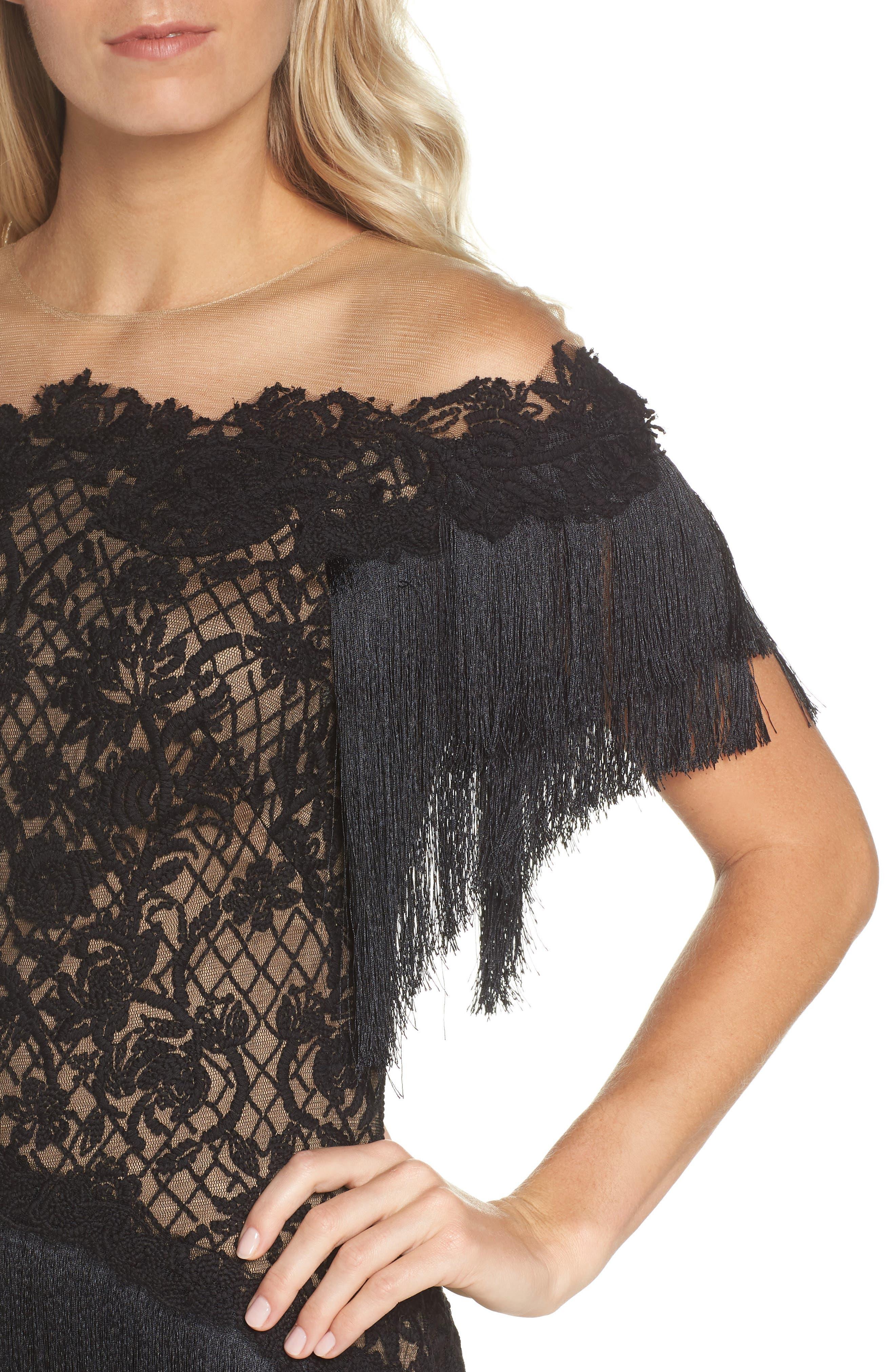 Off the Shoulder Fringe & Embroidered Mesh Dress,                             Alternate thumbnail 4, color,                             BLACK/ NUDE