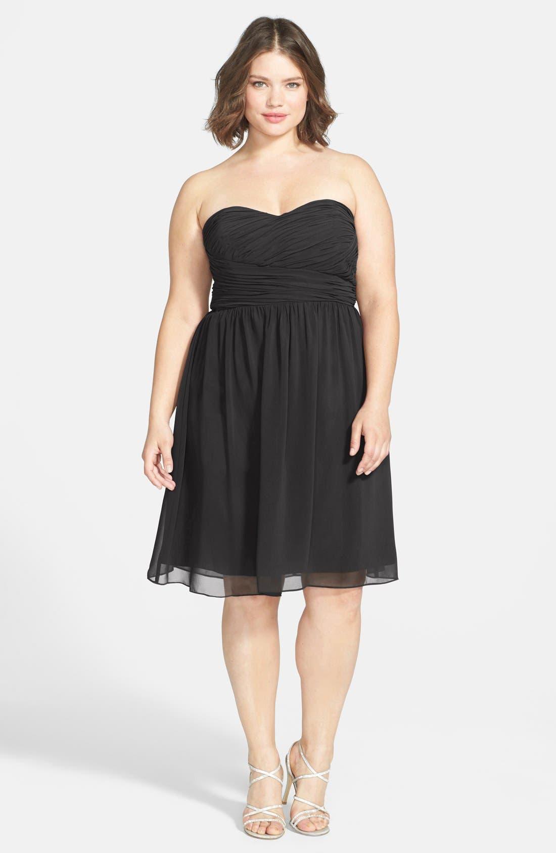'Sarah' Strapless Ruched Chiffon Dress,                             Alternate thumbnail 4, color,                             001