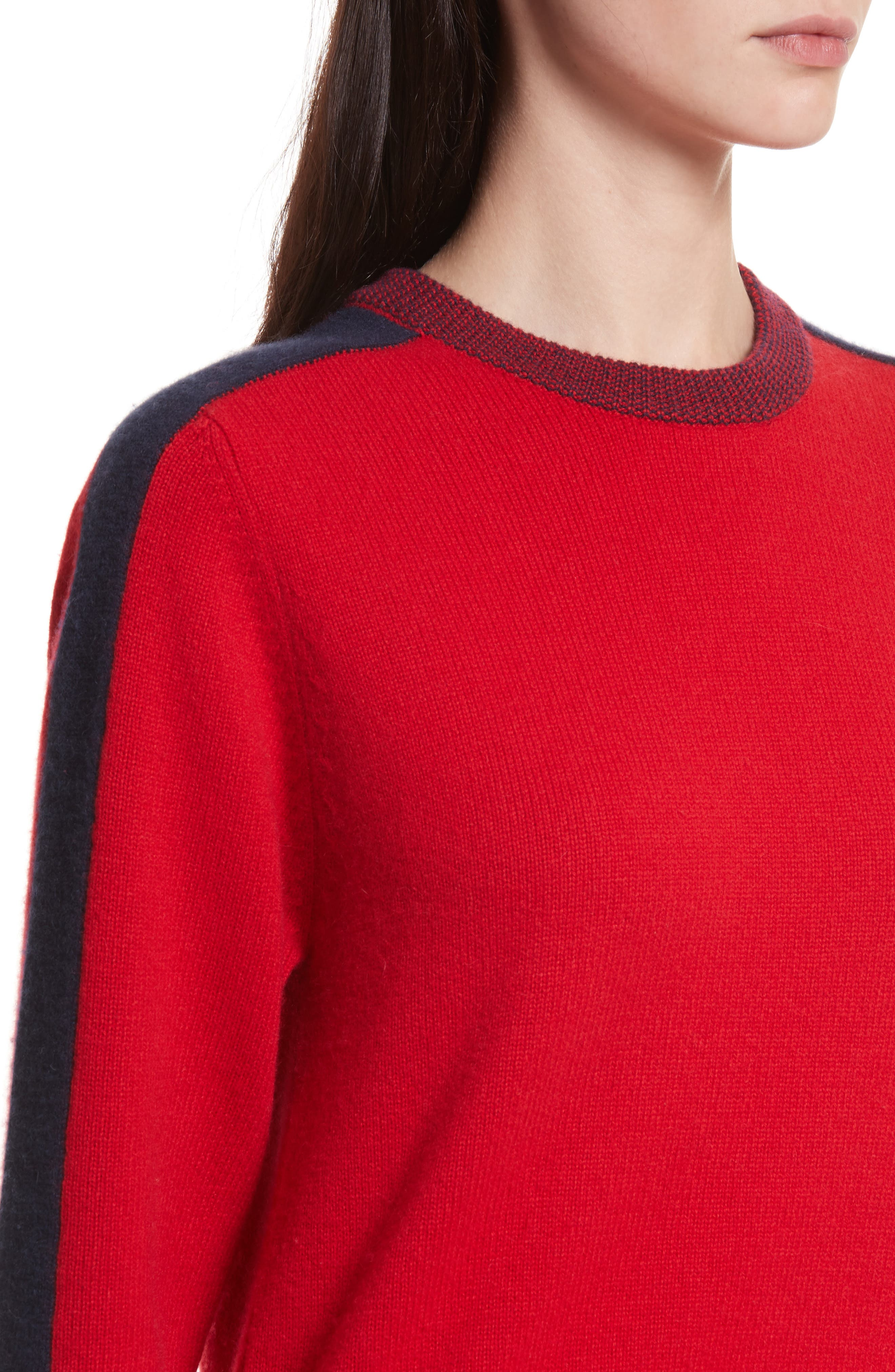 Bold Stripe Cashmere Sweater,                             Alternate thumbnail 4, color,