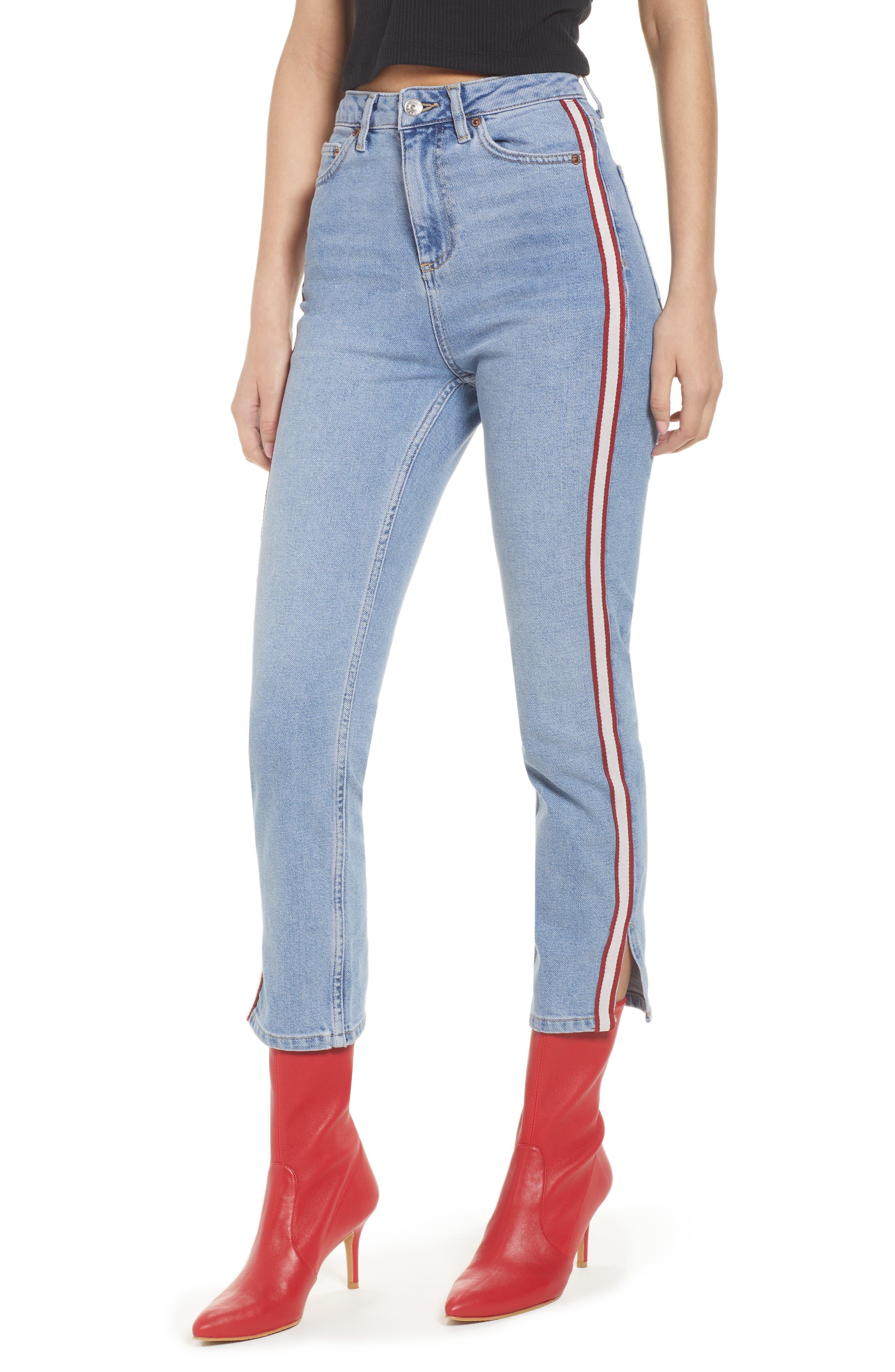 Moto Crop Straight Leg Jeans,                             Main thumbnail 1, color,