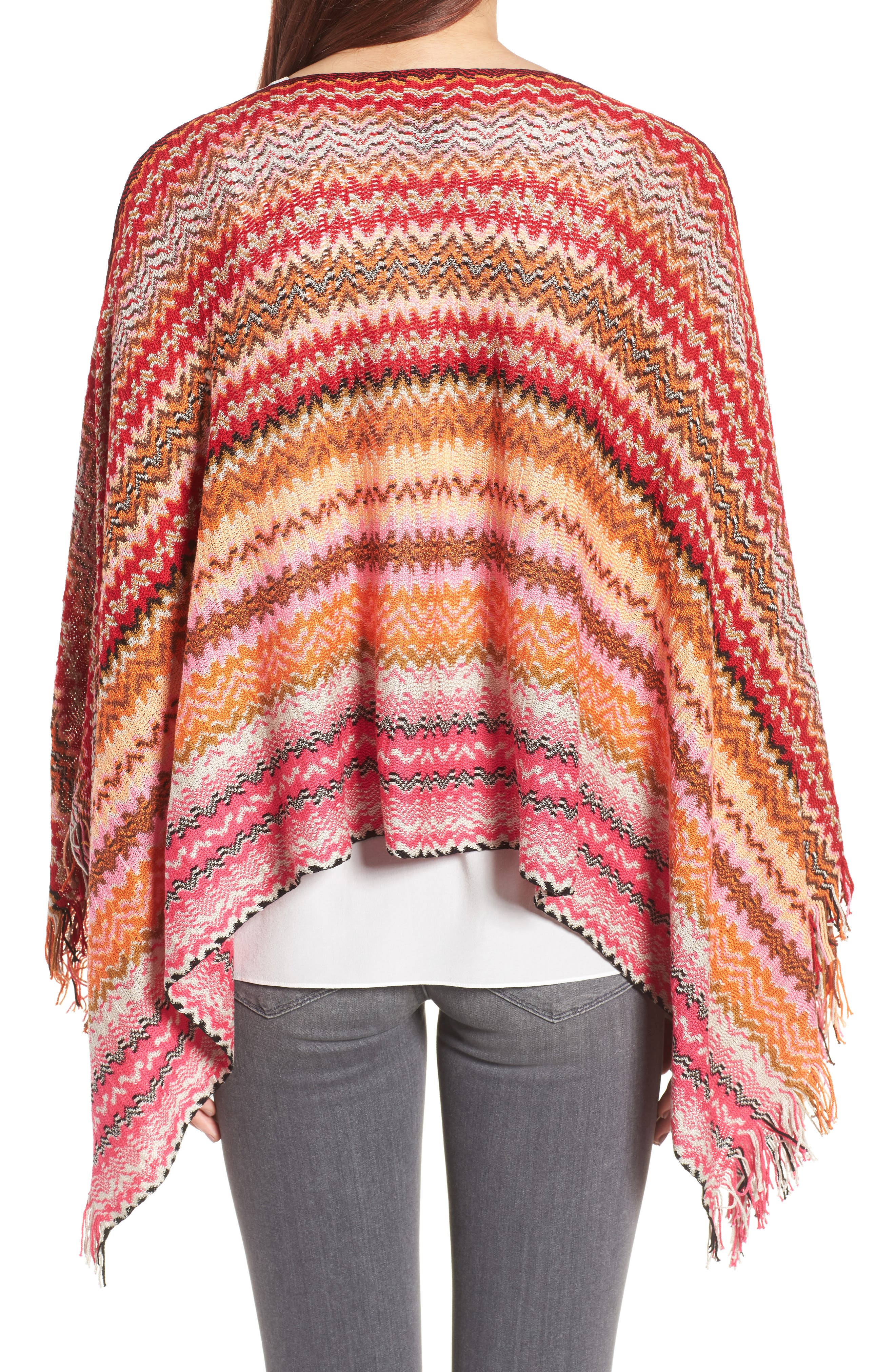 Fringe Poncho,                             Alternate thumbnail 2, color,                             PINK/ RED MULTI