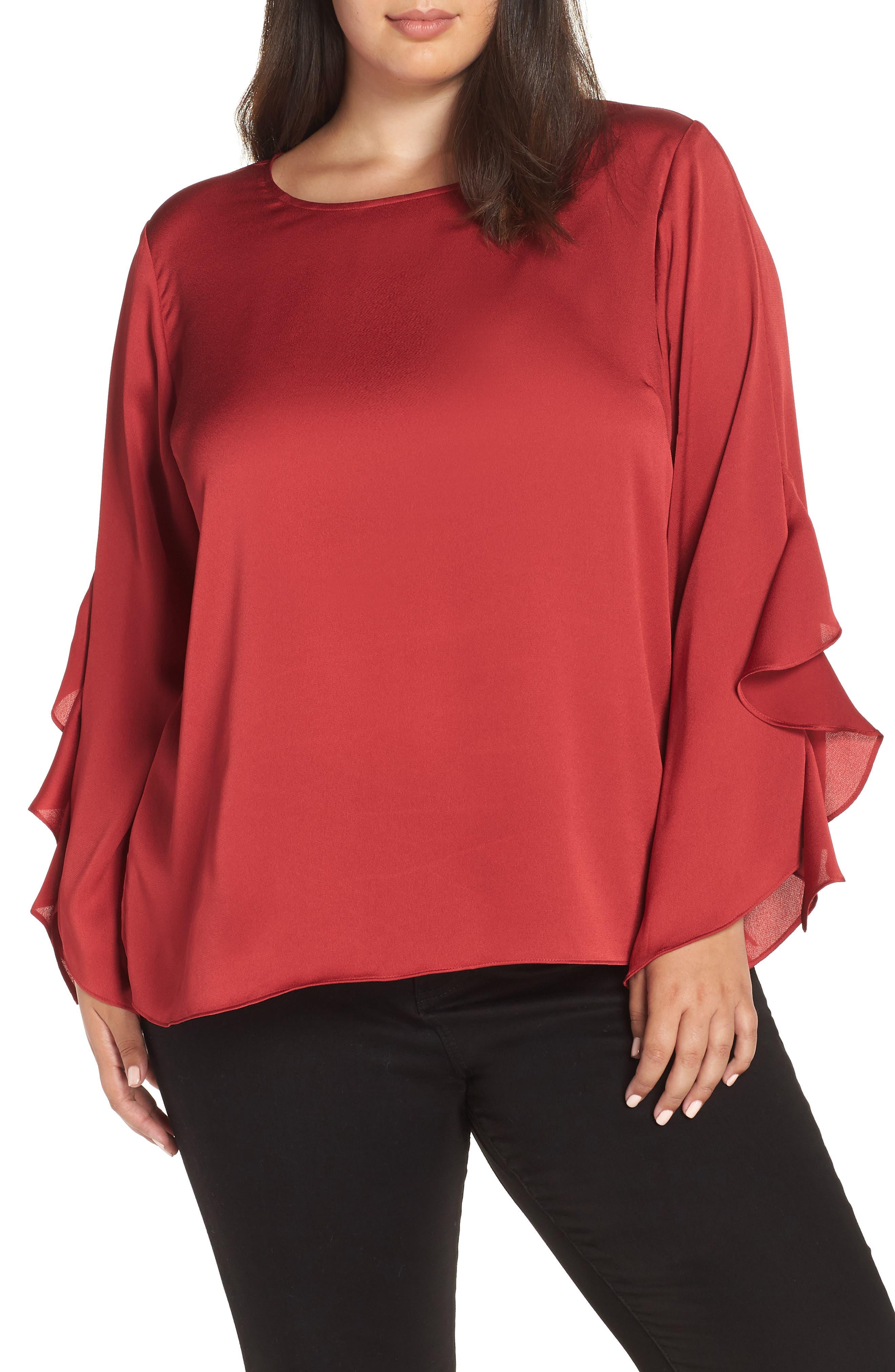 Ruffle Sleeve Blouse, Main, color, CLARET