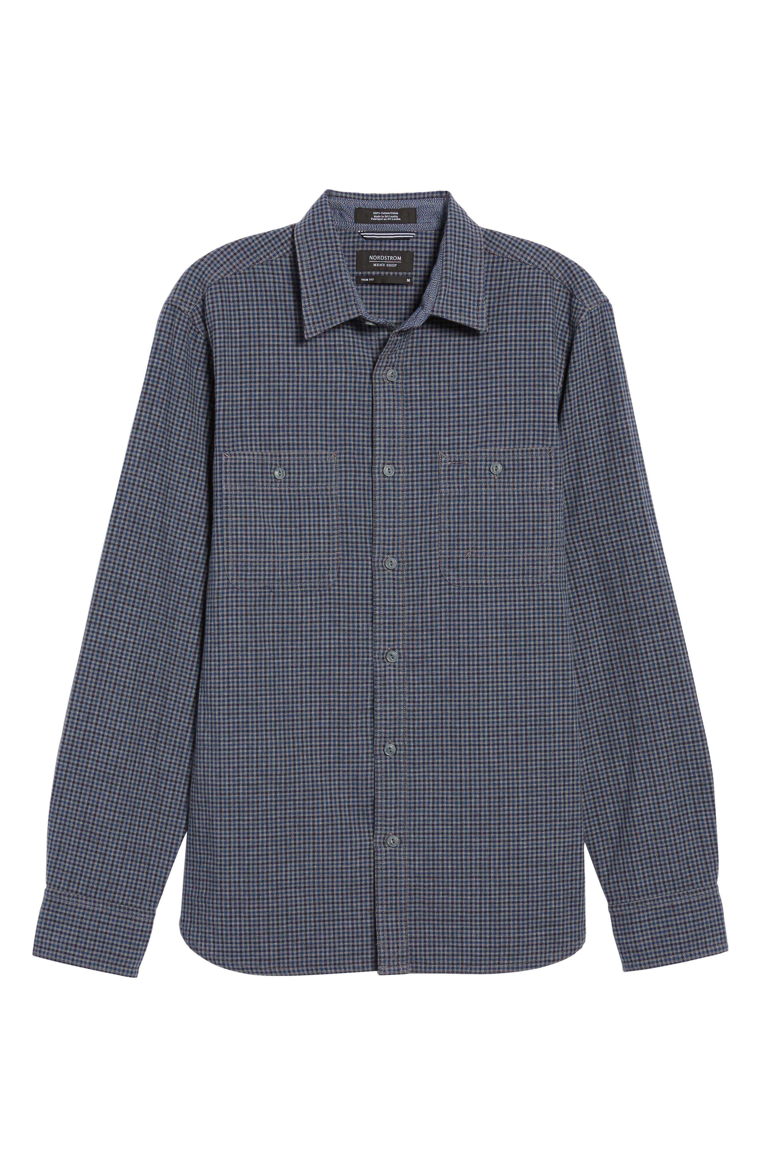 Slim Fit Micro Check Sport Shirt,                             Alternate thumbnail 6, color,