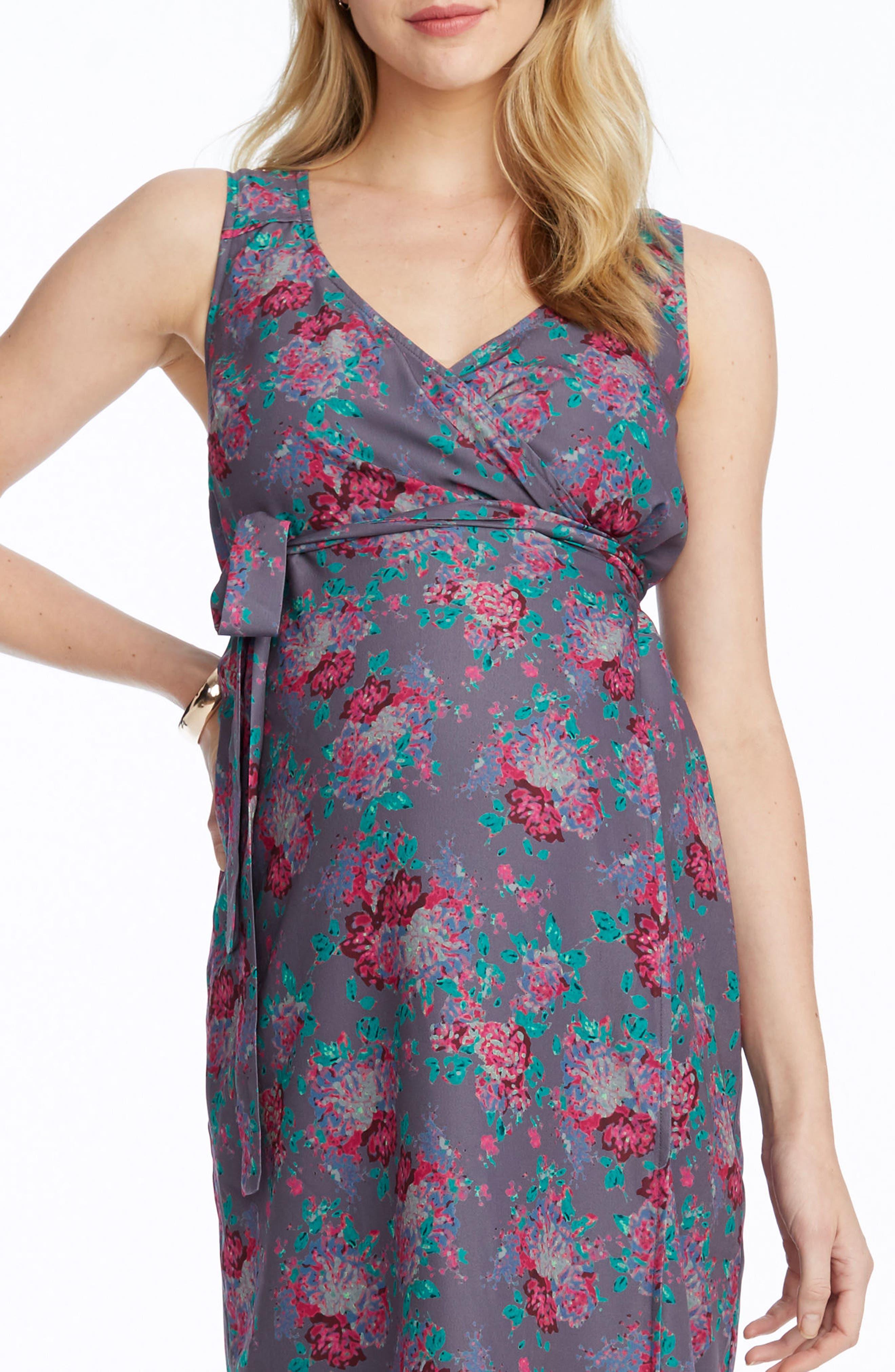 Tara Floral Maternity/Nursing Wrap Dress,                             Alternate thumbnail 4, color,                             SLATE COMBO