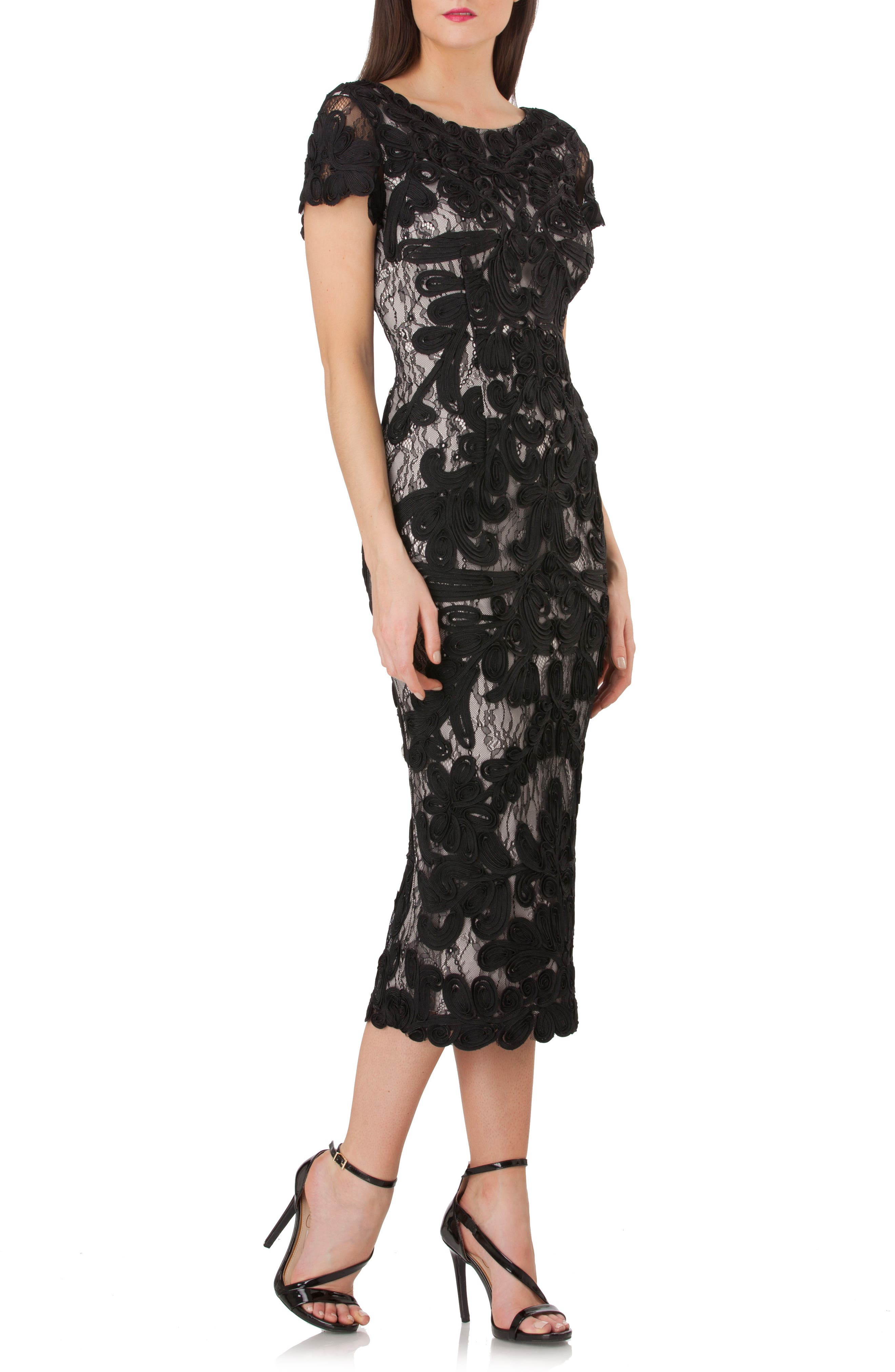 Vintage Cocktail Dresses, Party Dresses Womens Js Collections Soutache Lace Midi Dress Size 10 - Black $348.00 AT vintagedancer.com