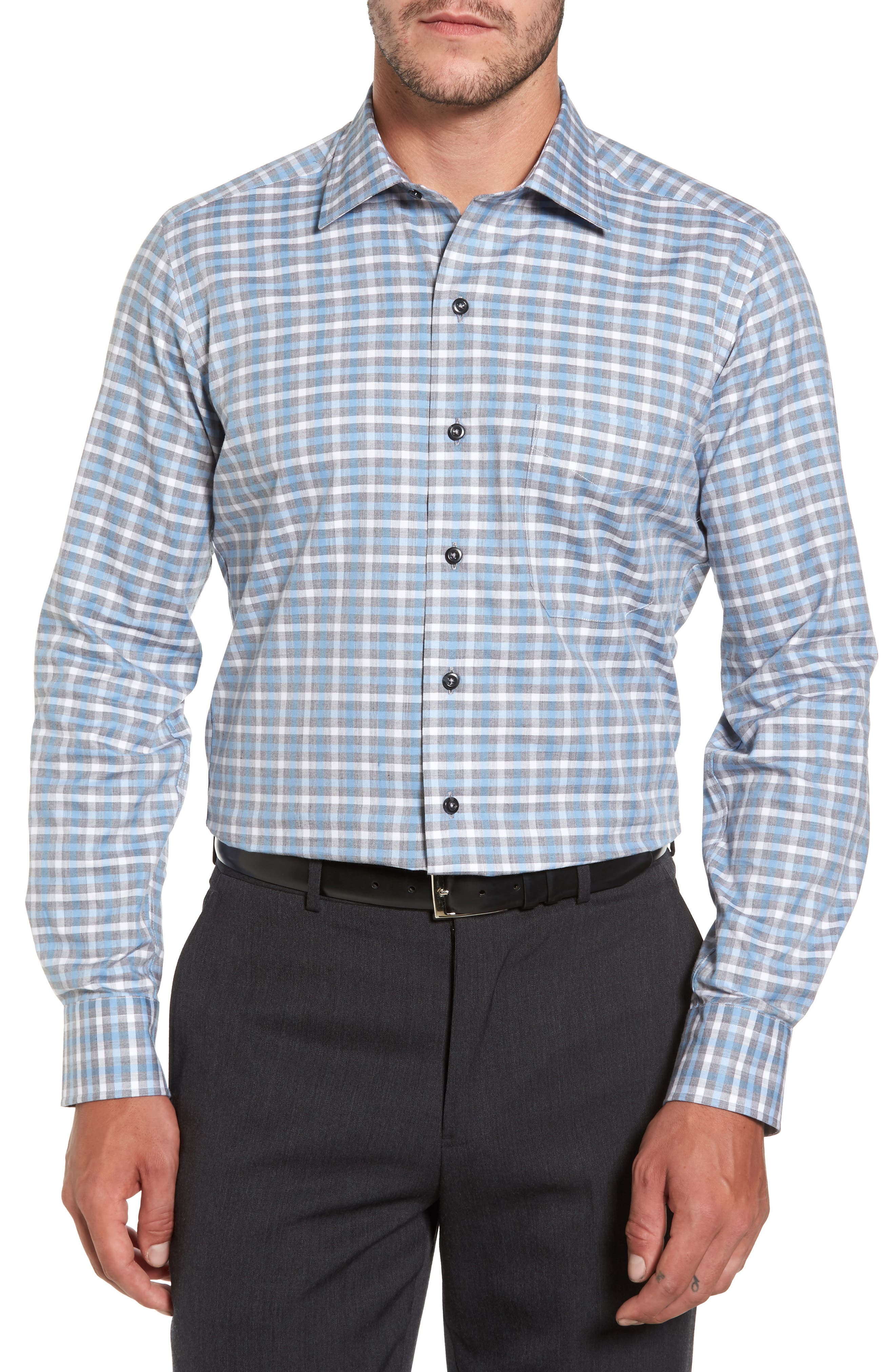Plaid Regular Fit Sport Shirt,                             Main thumbnail 1, color,