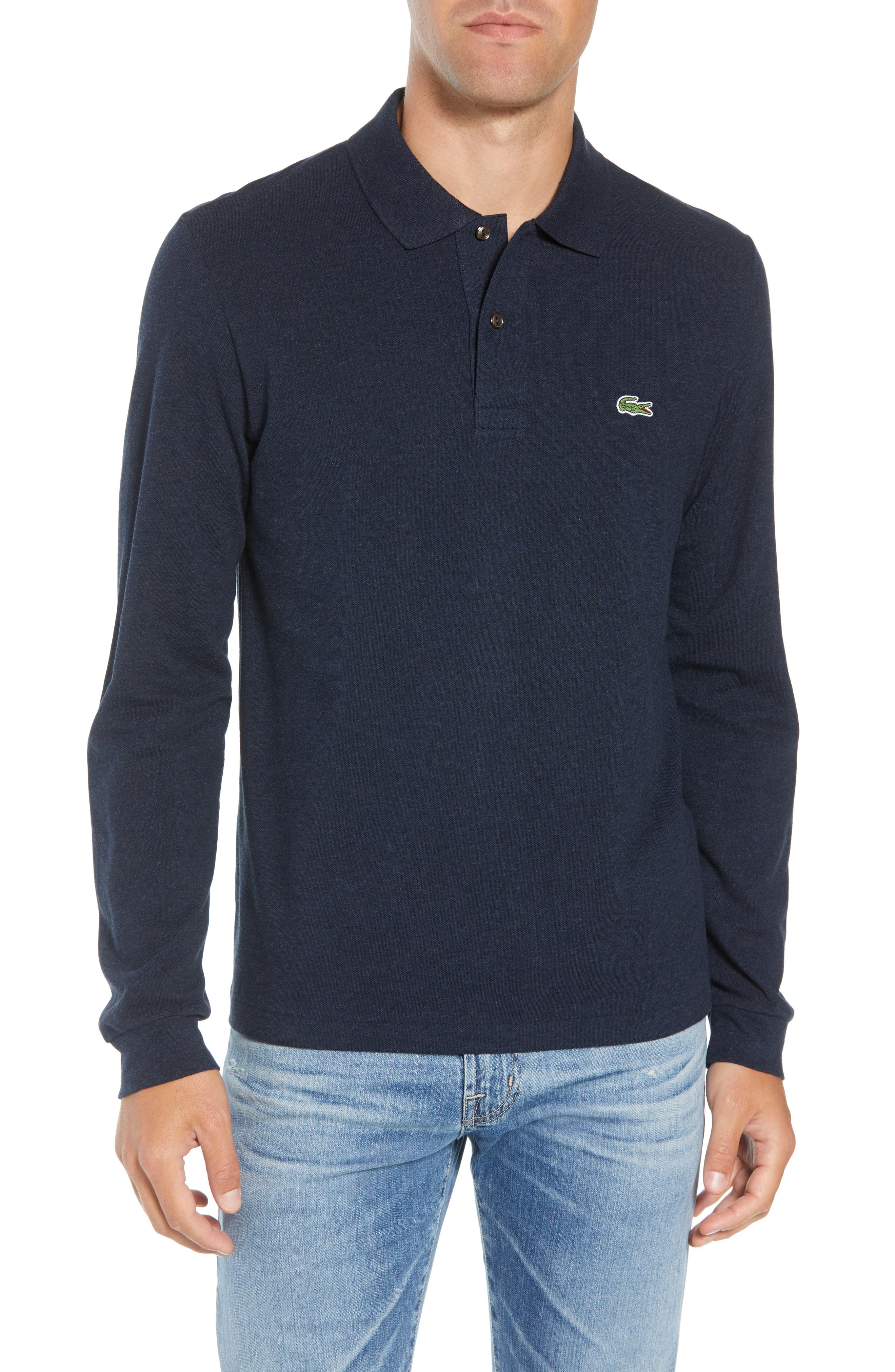 LACOSTE Long Sleeve Pique Polo in Eclipse Blue Chine