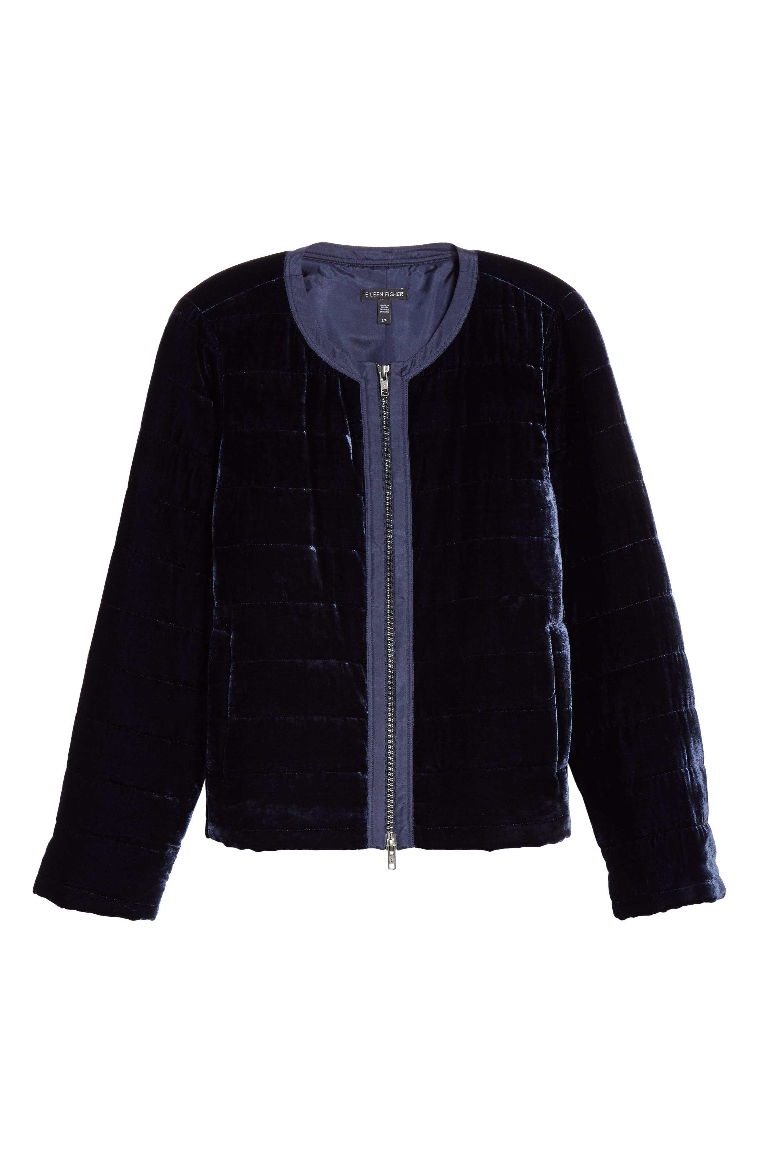 Quilted Velvet Jacket,                             Alternate thumbnail 6, color,                             MIDNIGHT