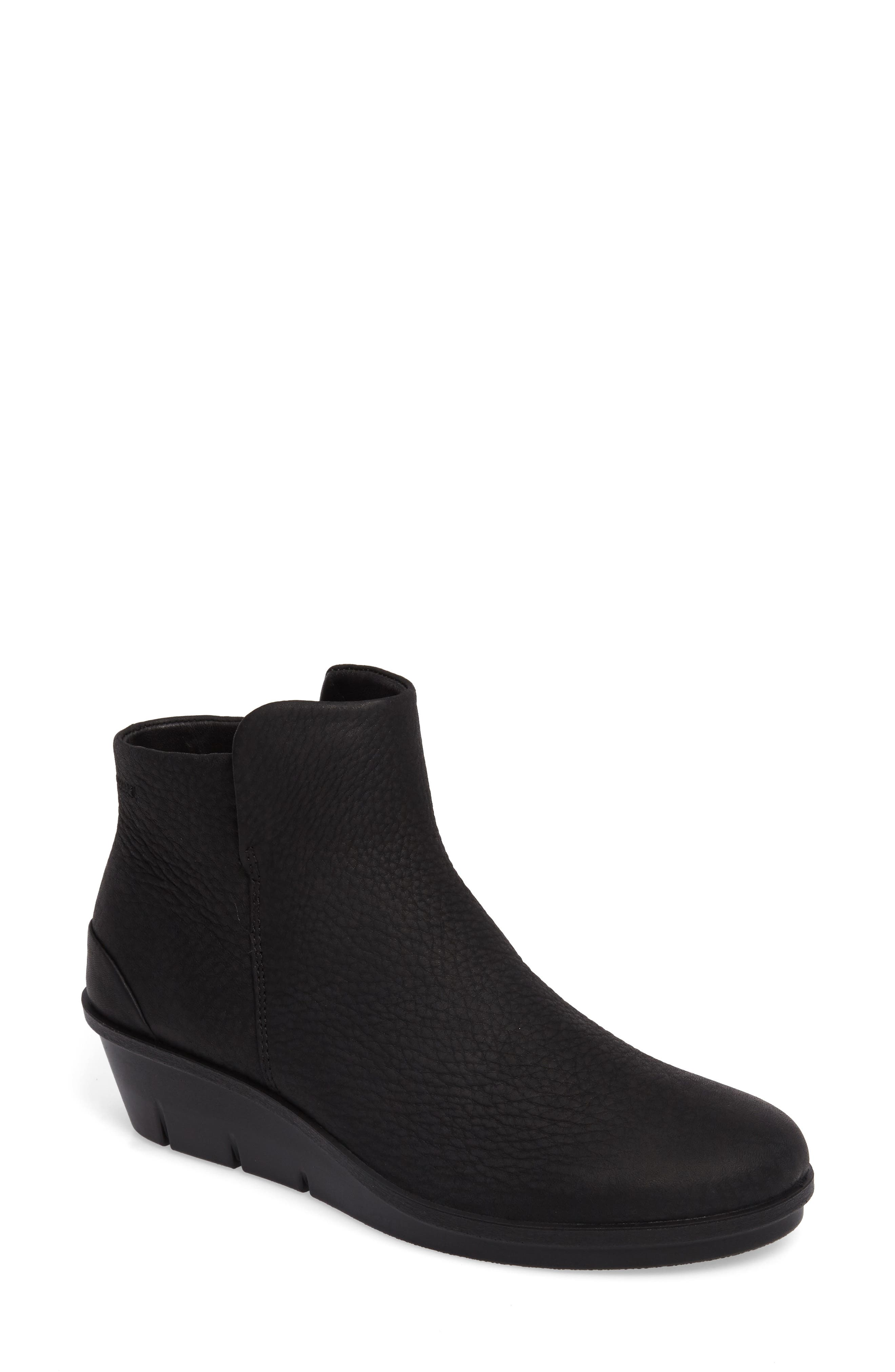 Skyler Wedge Boot,                         Main,                         color, BLACK LEATHER