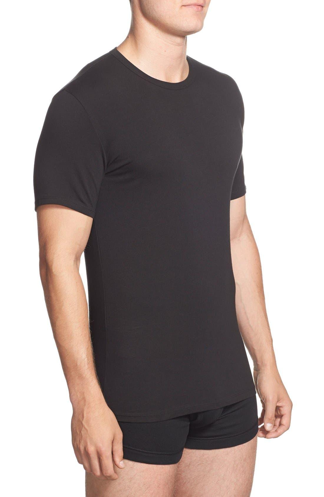2-Pack Stretch Cotton Crewneck T-Shirt,                             Alternate thumbnail 3, color,                             BLACK