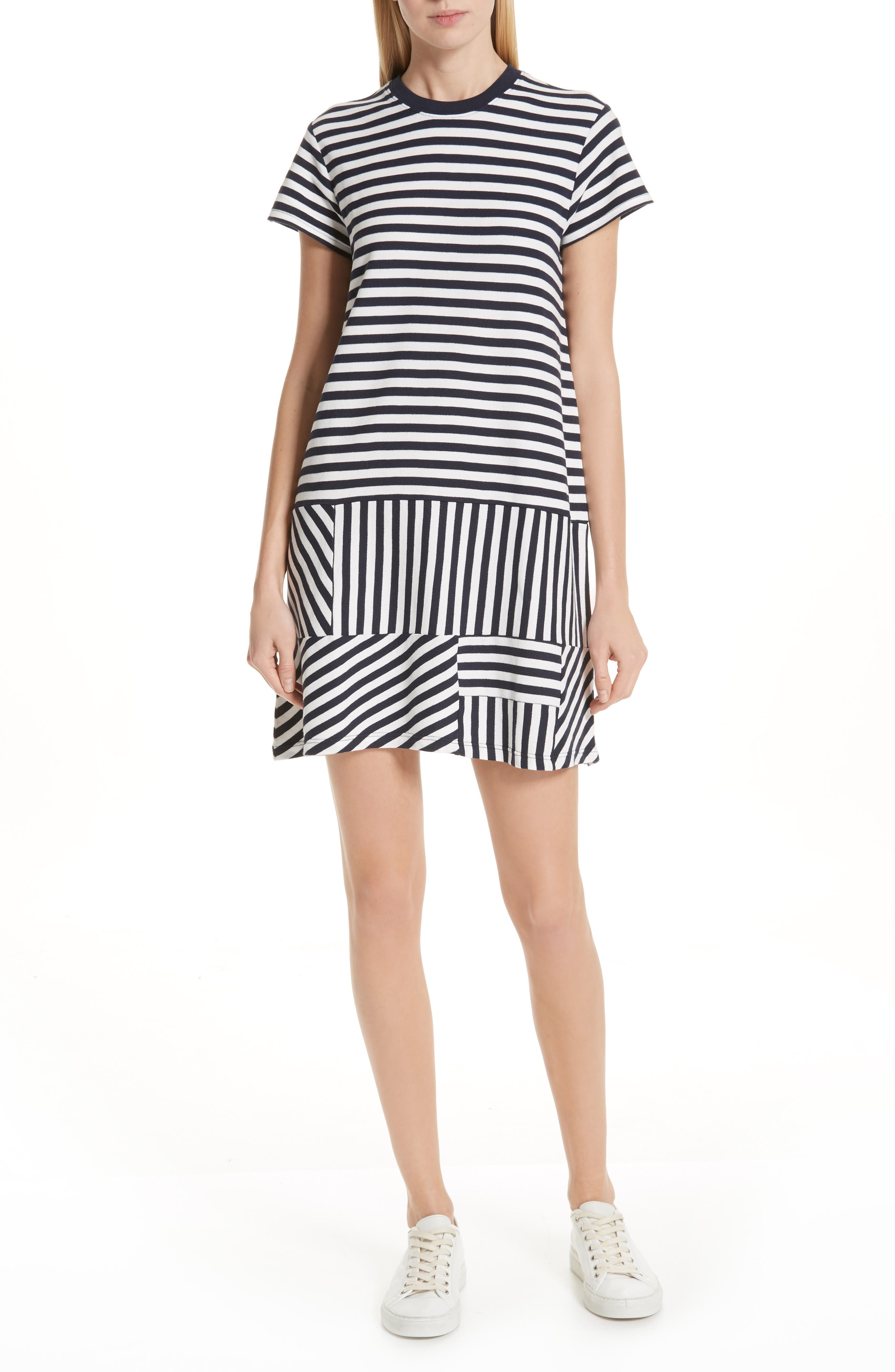Atm Anthony Thomas Melillo Mixed Stripe Drop Waist Dress, White