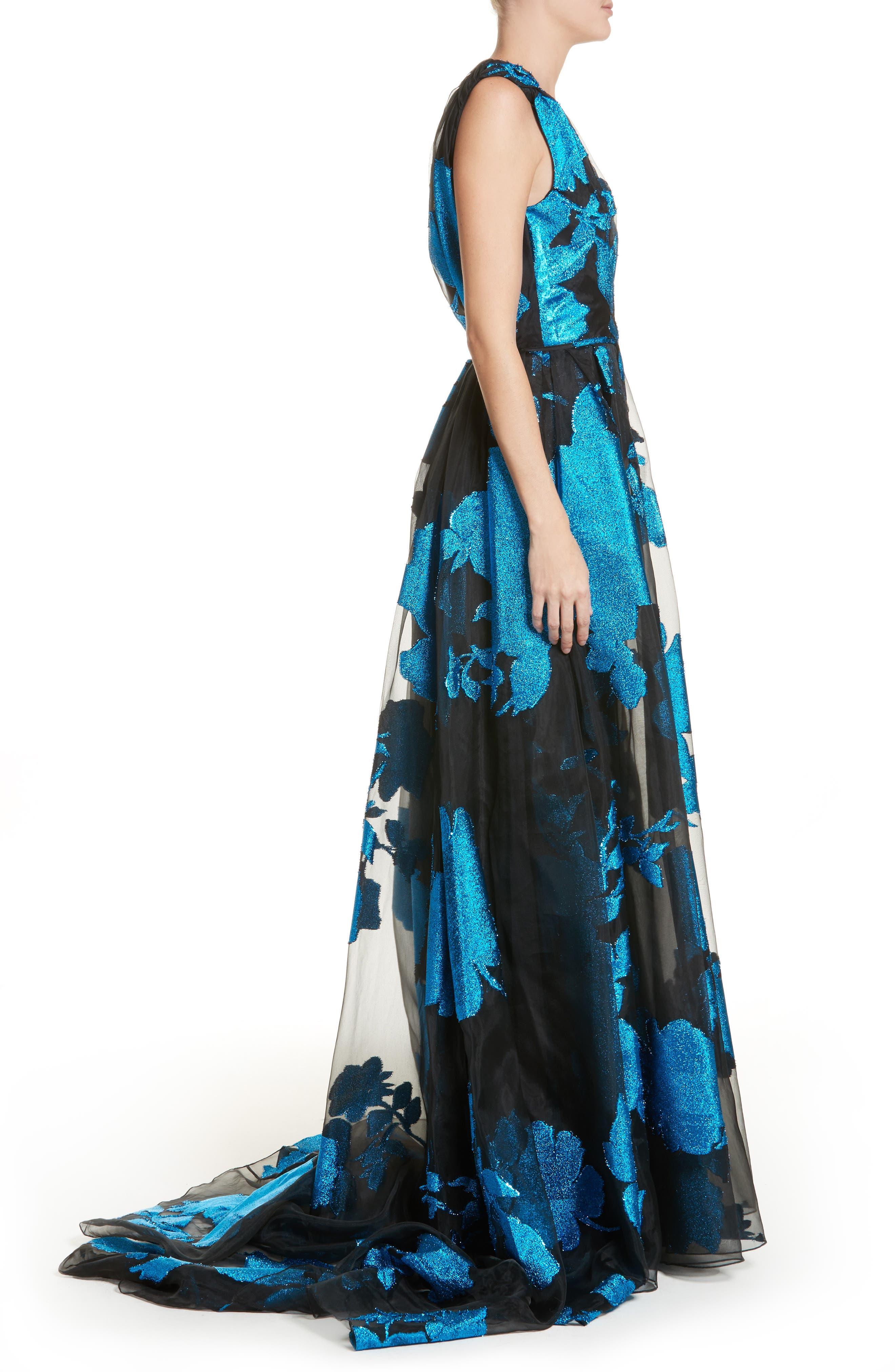 Metallic Floral Chiffon Gown,                             Alternate thumbnail 3, color,                             001