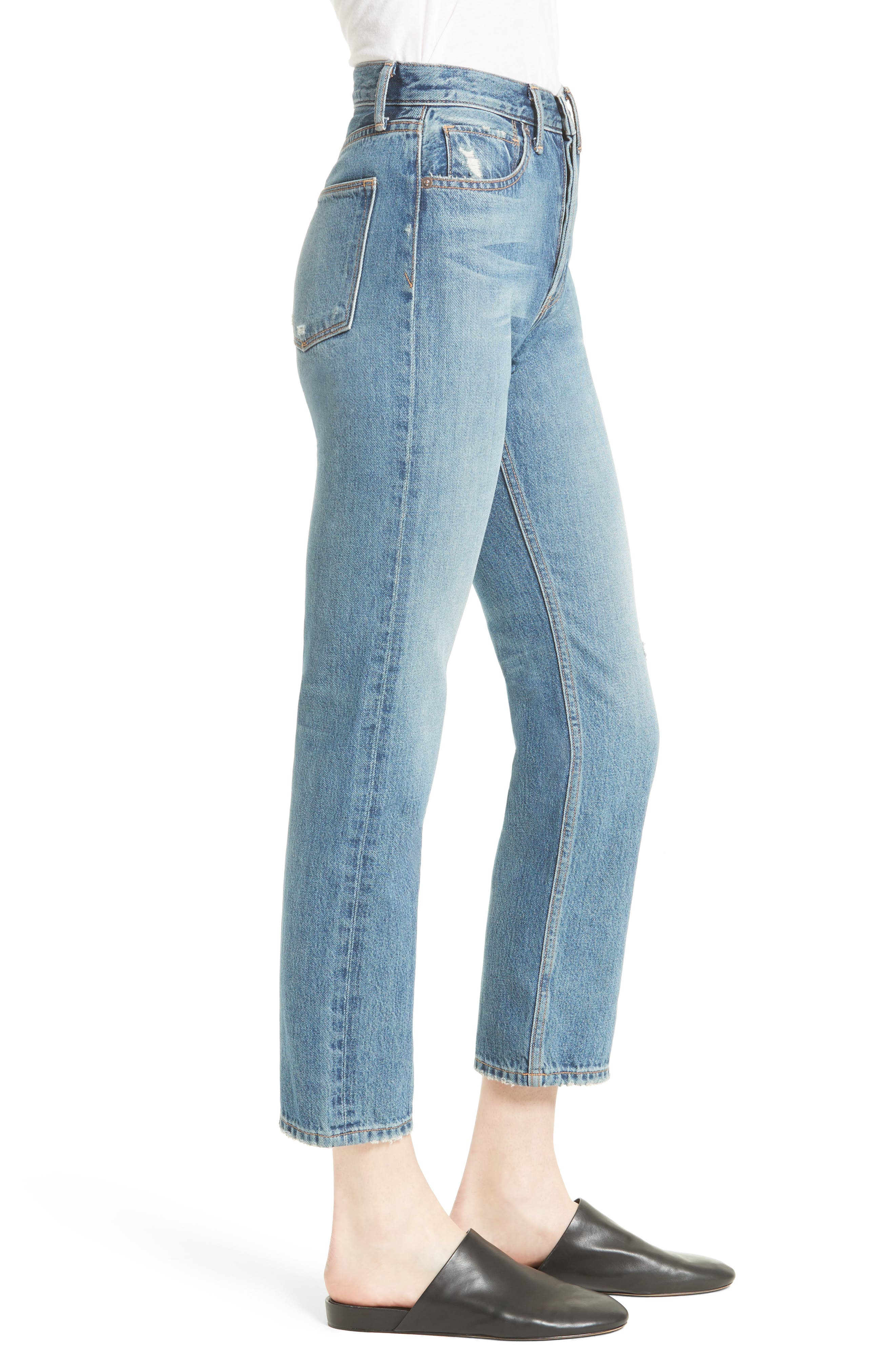 High Waist Vintage Straight Leg Jeans,                             Alternate thumbnail 3, color,                             420