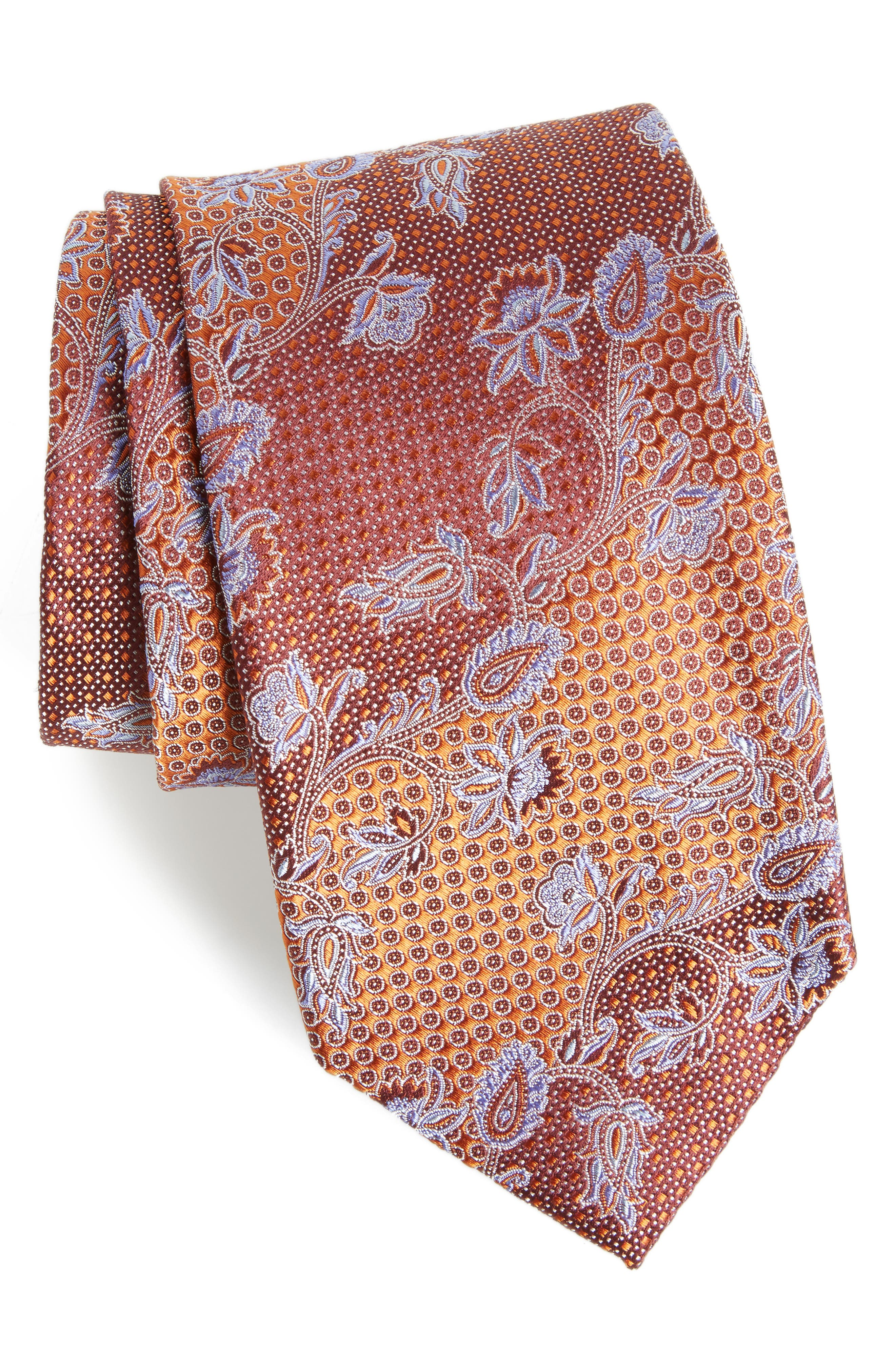 Demarco Floral Silk Tie,                             Main thumbnail 1, color,                             808