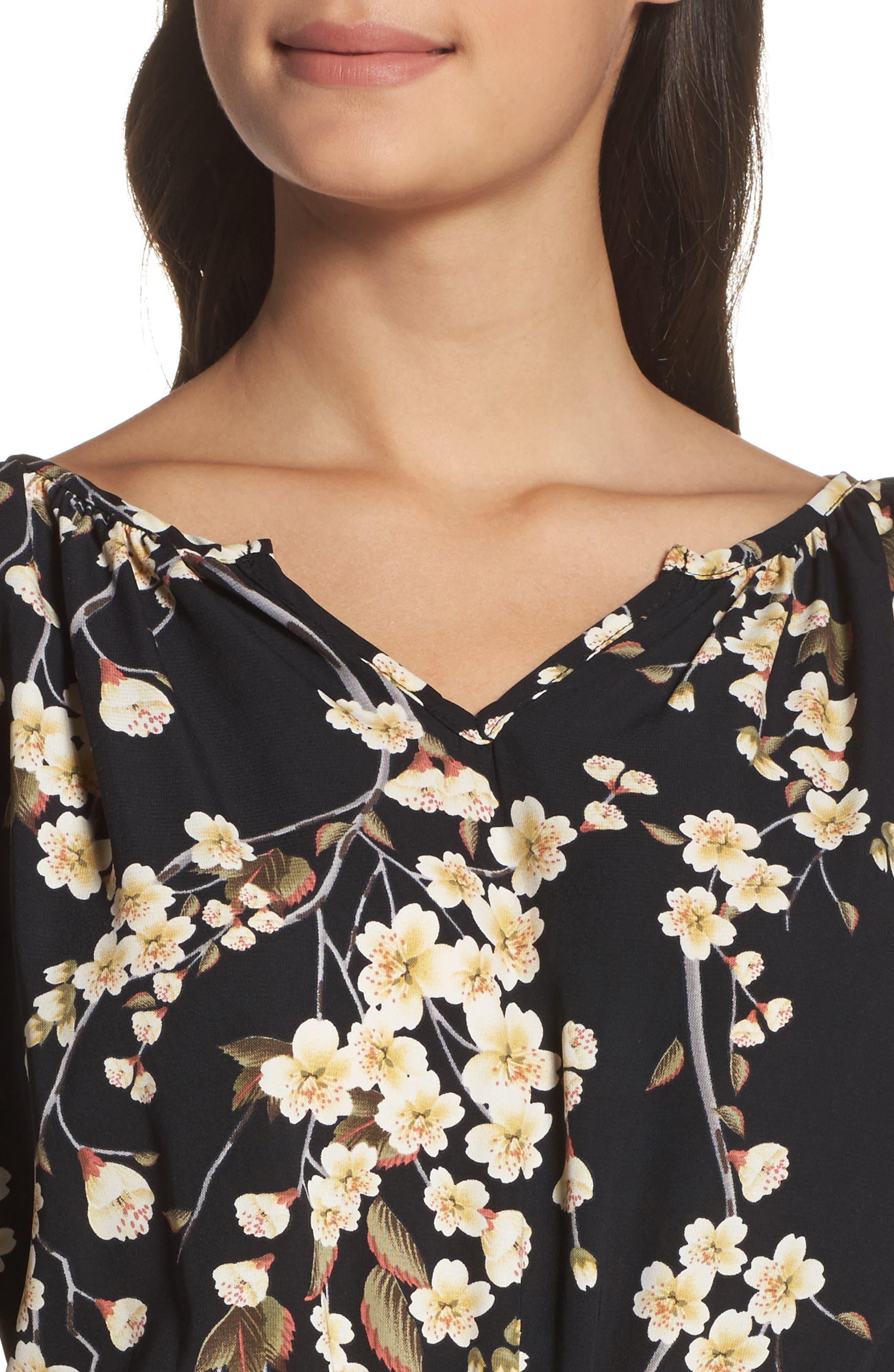 Floral Blouson Dress,                             Alternate thumbnail 4, color,                             002