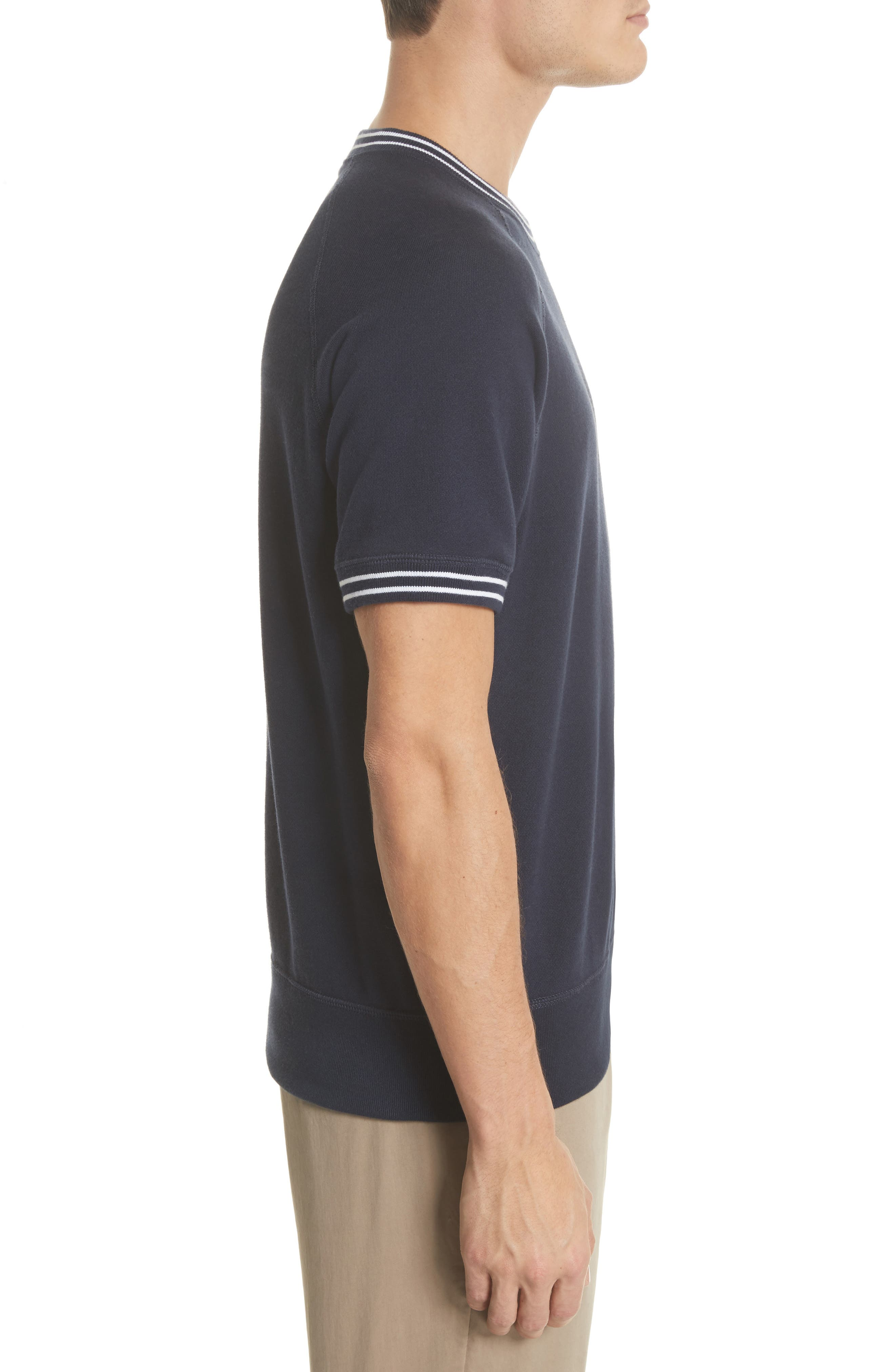 + Champion Stripe Rib Short Sleeve Sweatshirt,                             Alternate thumbnail 3, color,                             410