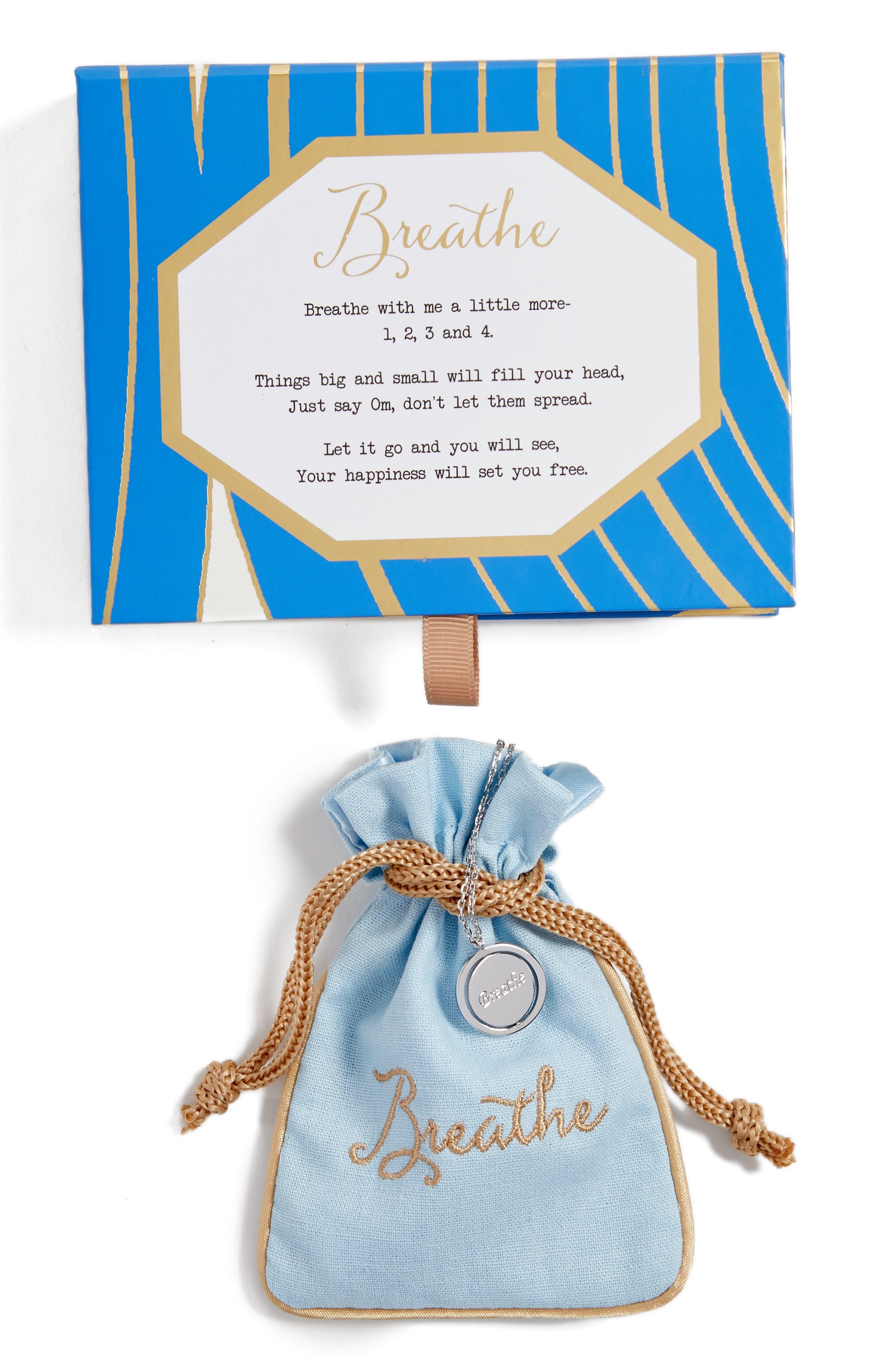 Breathe Love Letters Flip Pendant Necklace,                             Alternate thumbnail 3, color,
