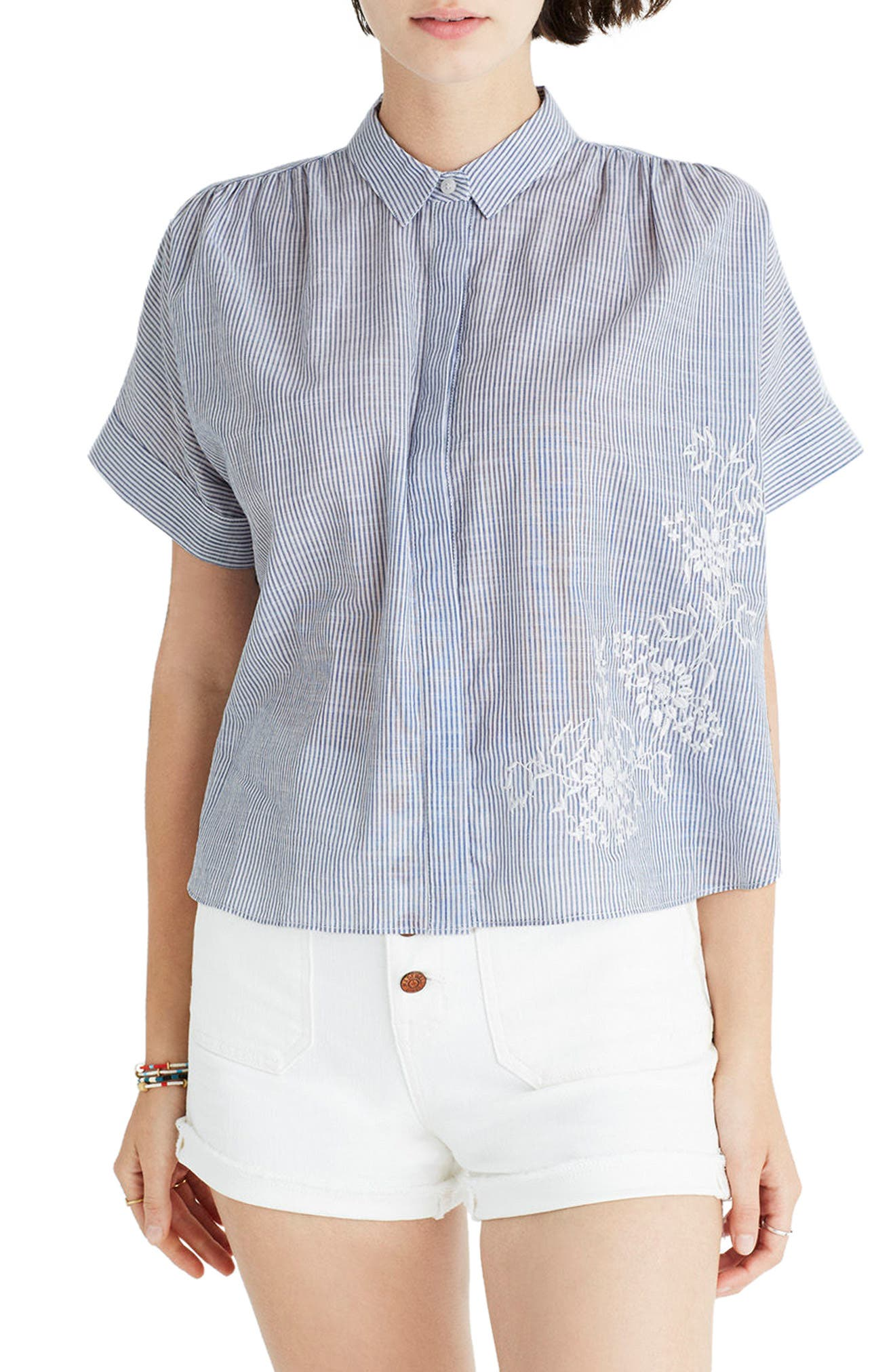 MADEWELL Embroidered Hilltop Shirt, Main, color, 400