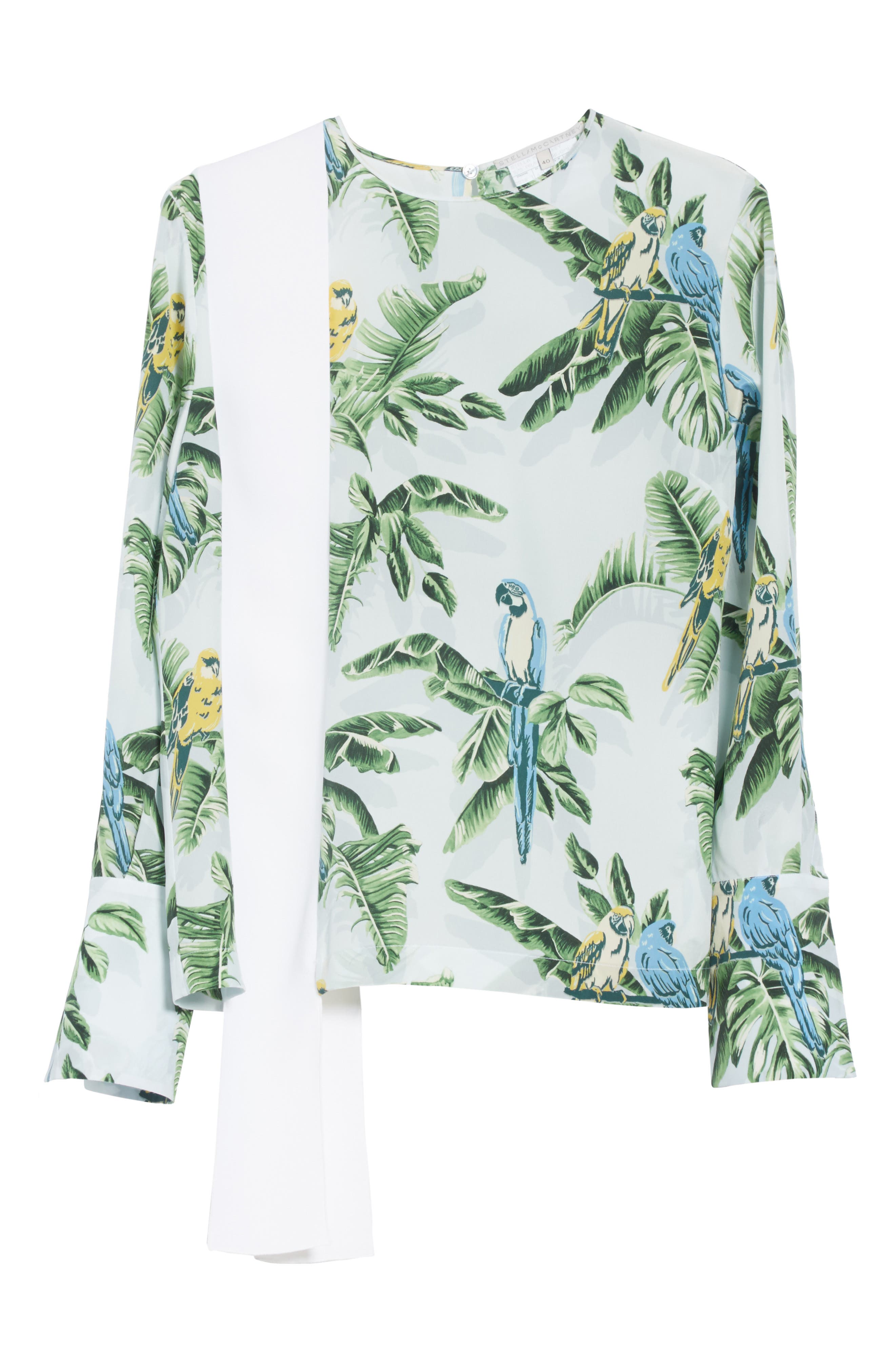 Claire Bird of Paradise Crêpe de Chine Blouse,                             Alternate thumbnail 6, color,