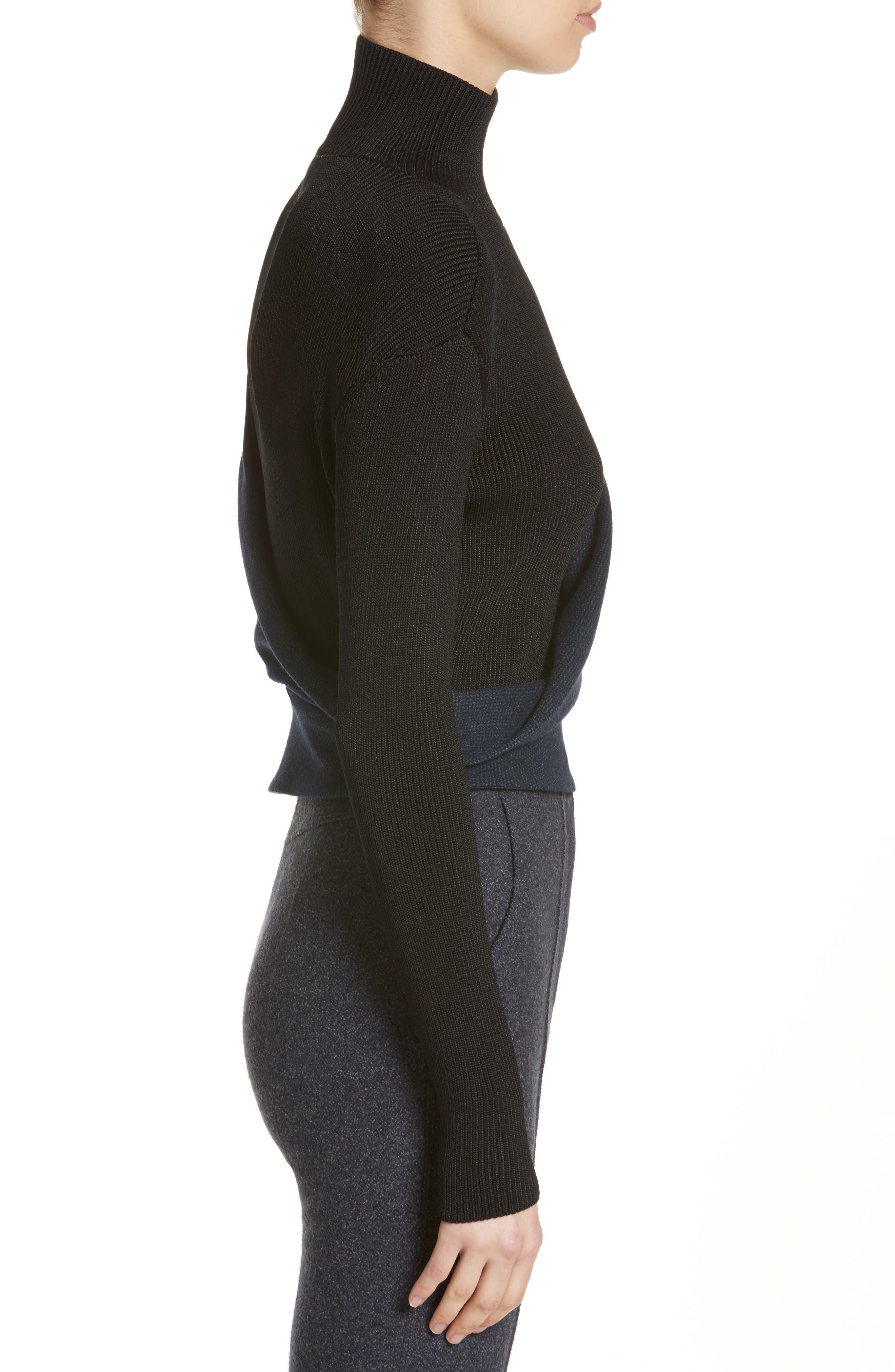 Tweed Jersey & Knit Turtleneck Sweater,                             Alternate thumbnail 3, color,                             400
