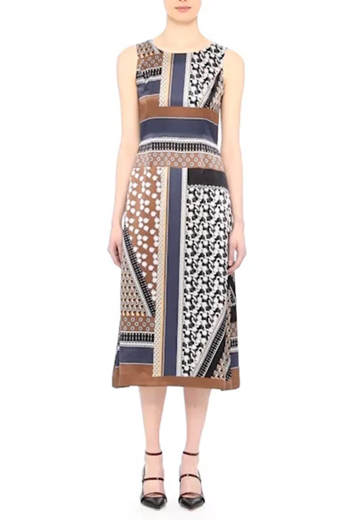 Sebella Silk Midi Dress,                             Alternate thumbnail 7, color,                             200