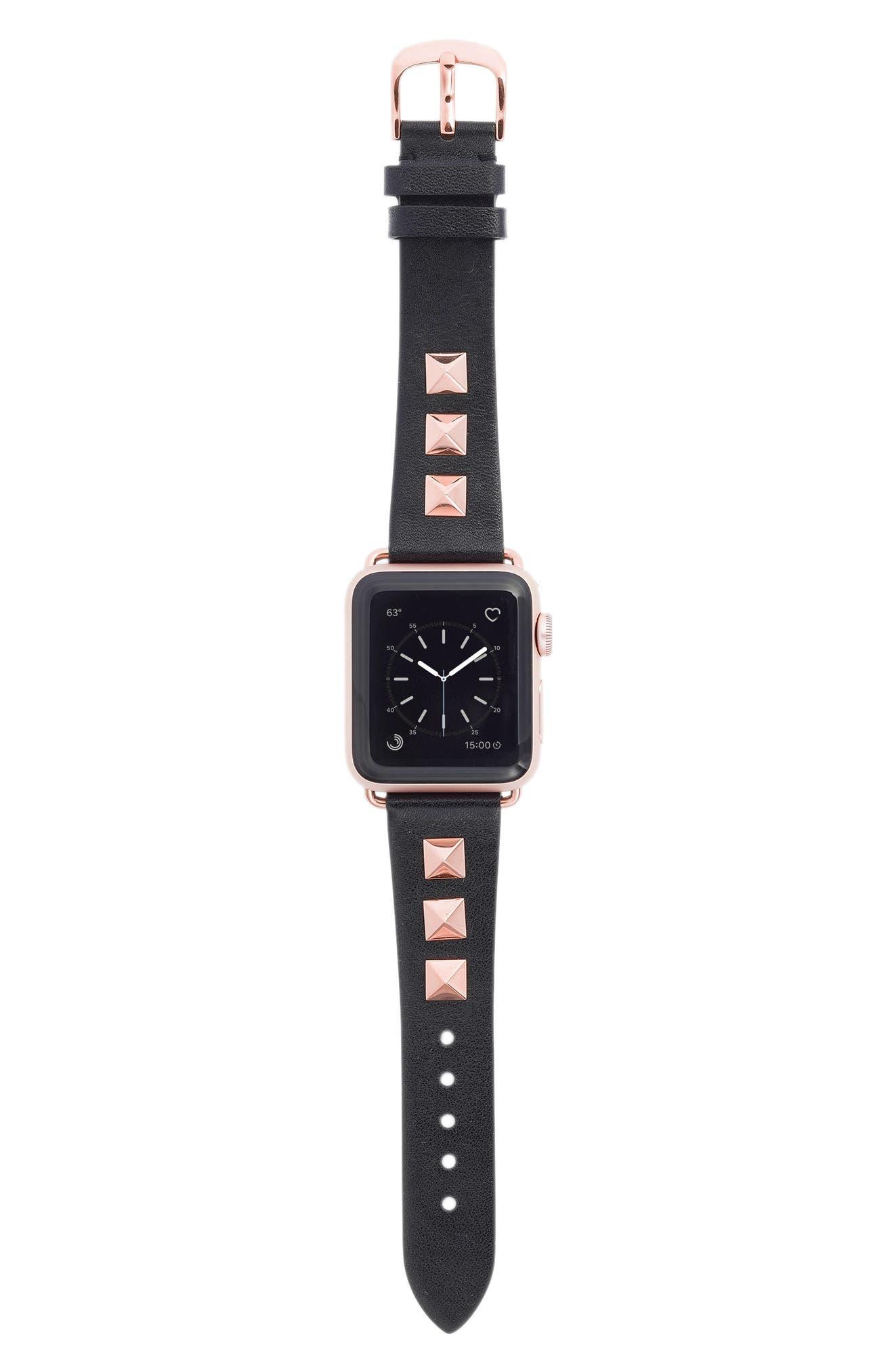 Bezels & Bytes Studded Leather Apple Watch Strap,                         Main,                         color, ROSE GOLD/ BLACK