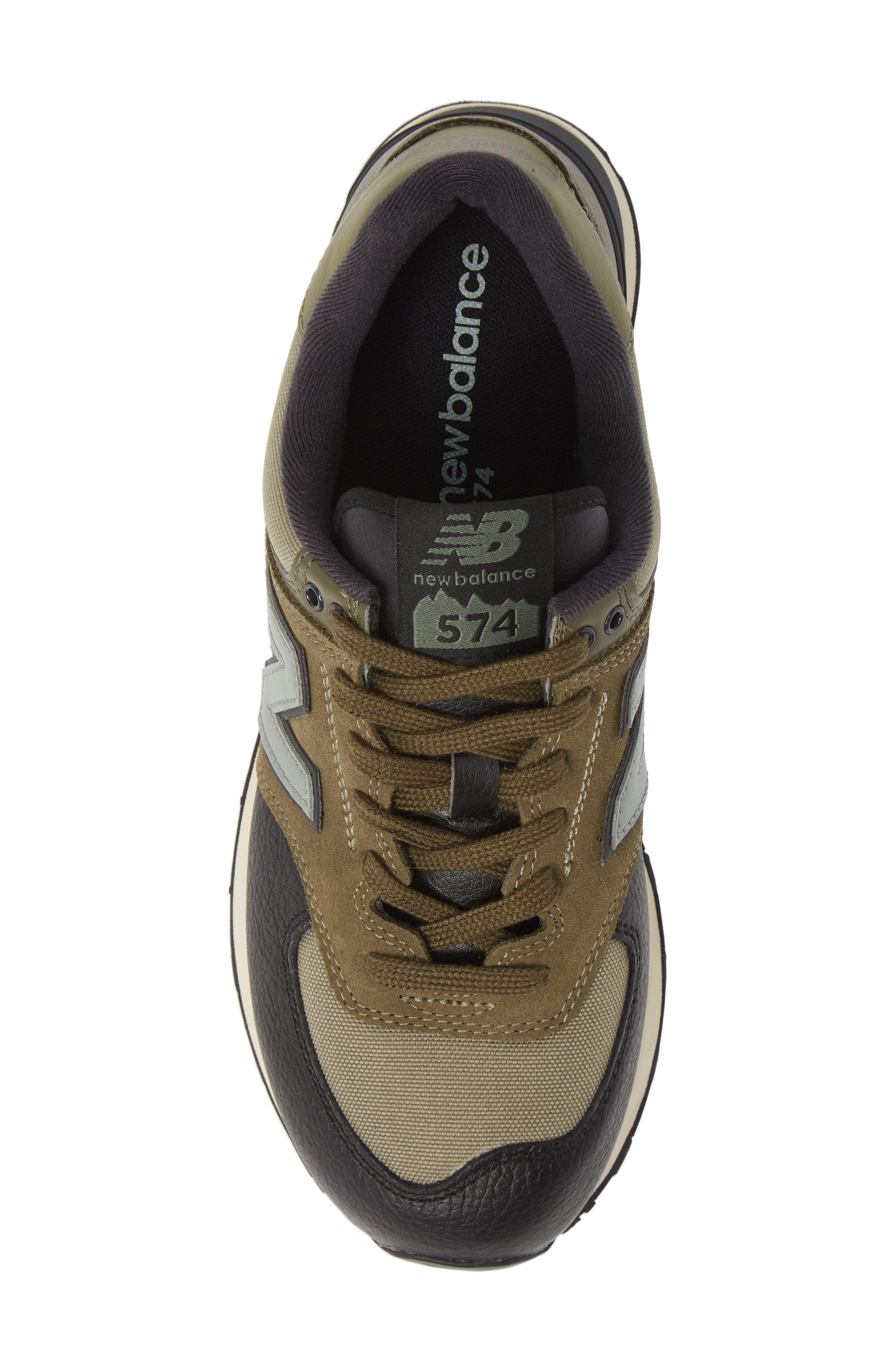 574 Classic Sneaker,                             Alternate thumbnail 5, color,                             COVERT GREEN SUEDE/ TEXTILE