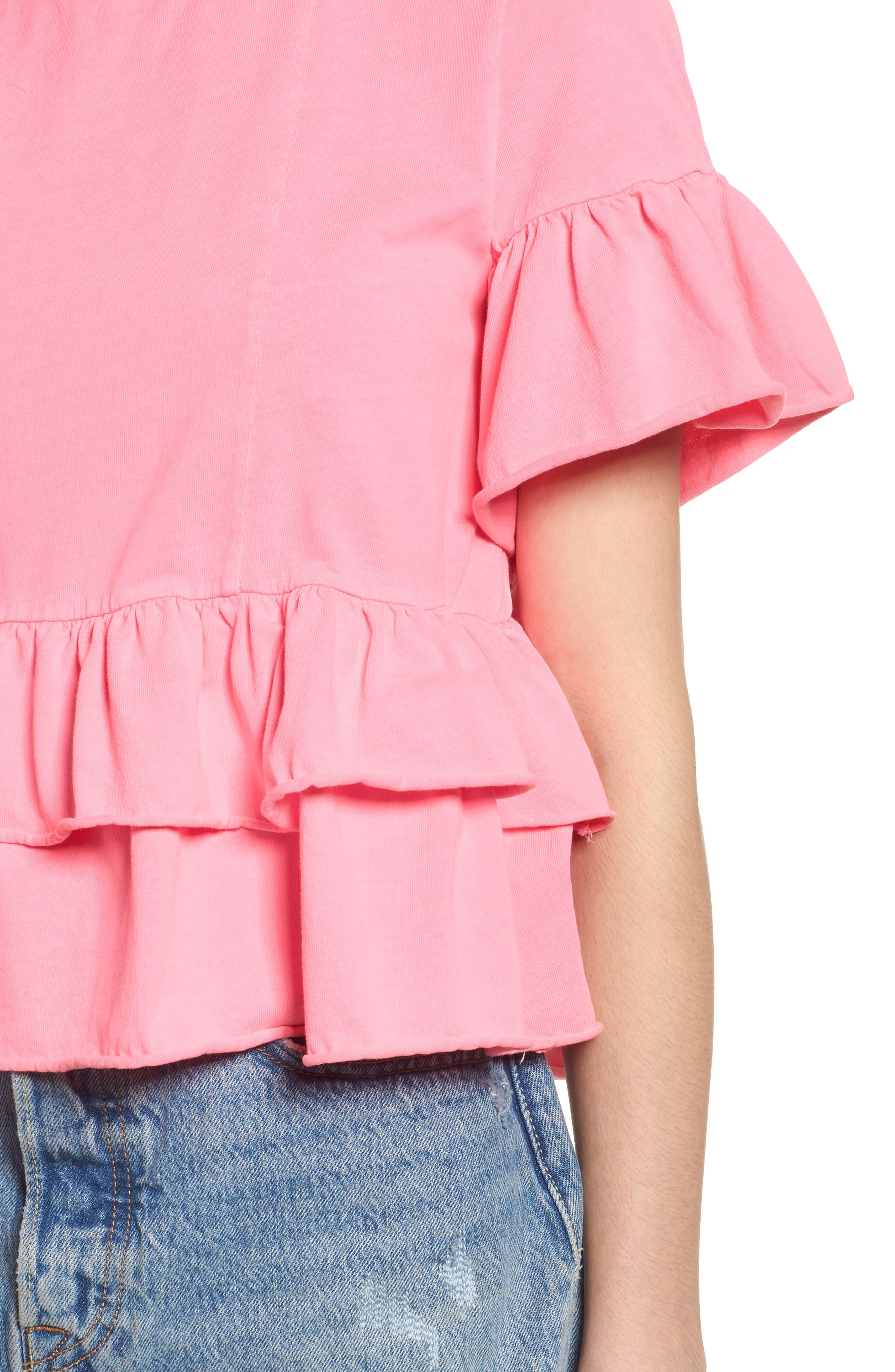 Double Peplum Ruffle Tee,                             Alternate thumbnail 4, color,                             680