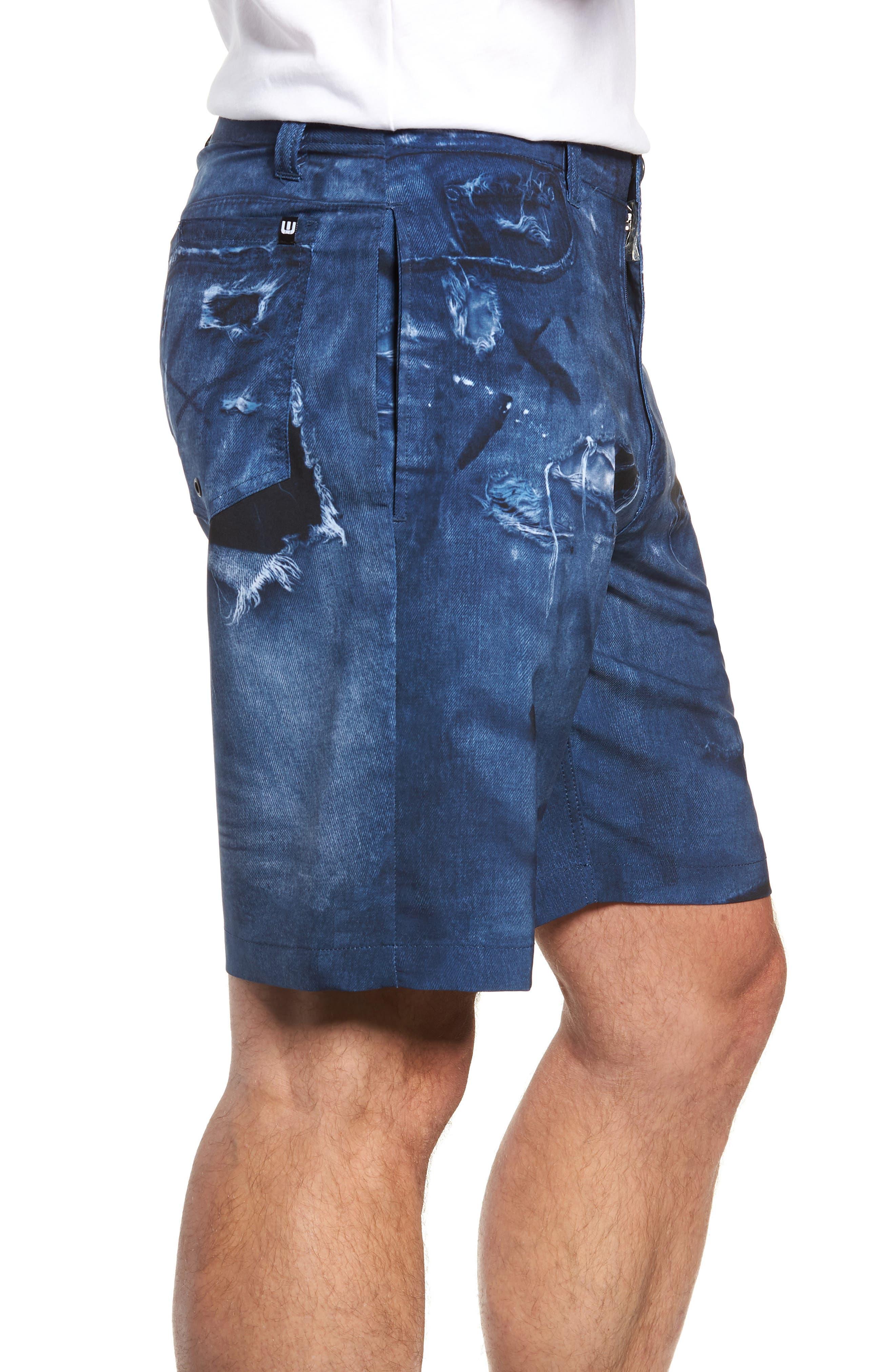 Man o' War Regular Fit Shorts,                             Alternate thumbnail 3, color,                             DENIM
