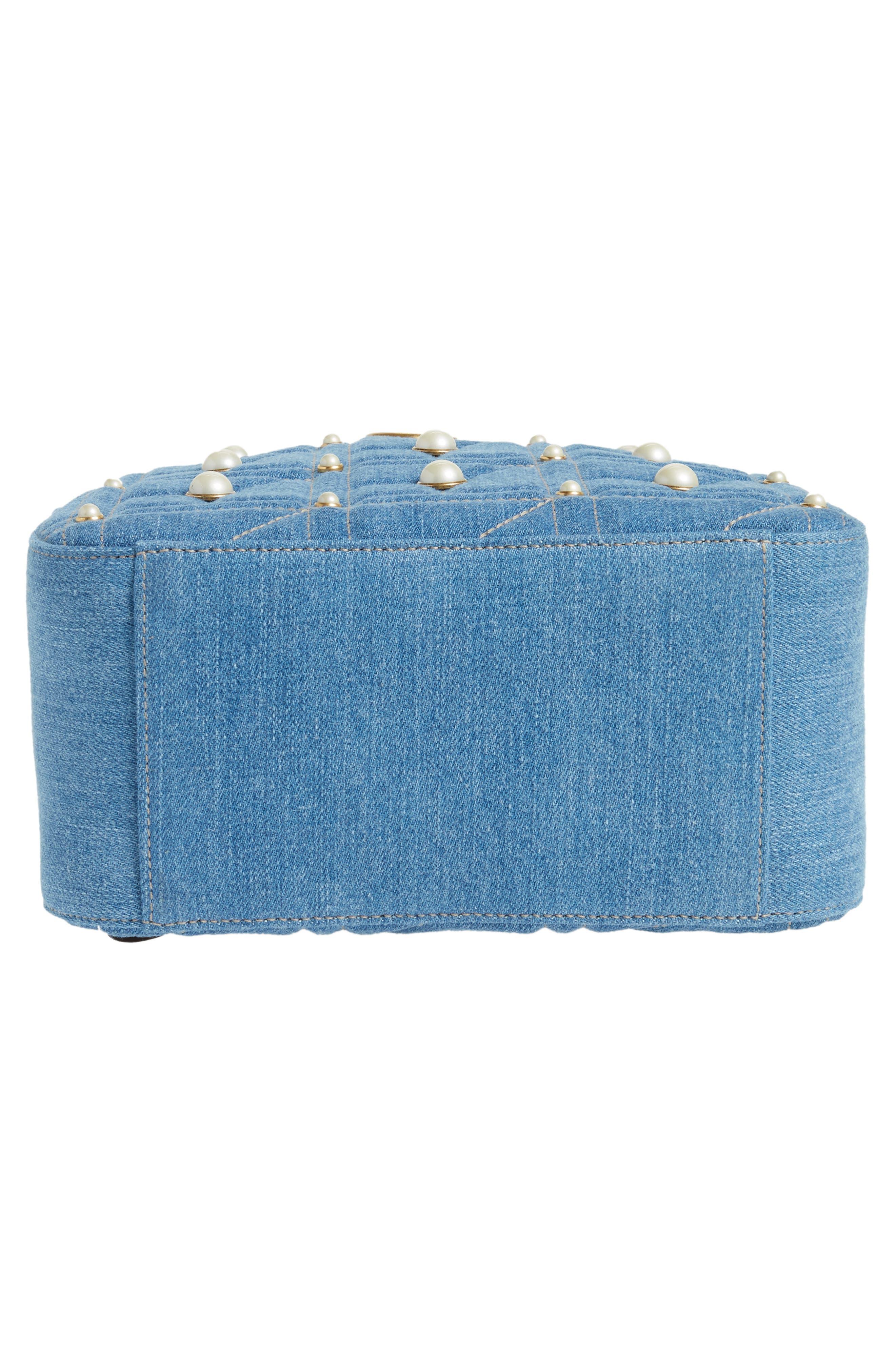 GG Marmont 2.0 Imitation Pearl Embellished Denim Backpack,                             Alternate thumbnail 6, color,                             DENIM BLUE