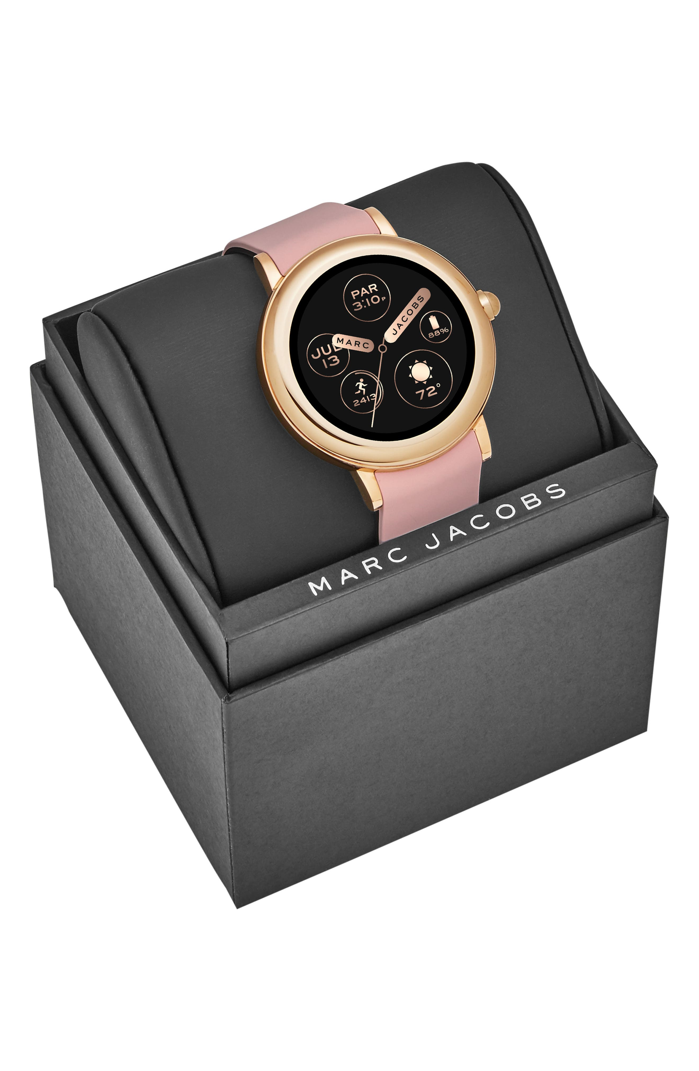 Riley Silcone Strap Smart Watch, 44mm,                             Alternate thumbnail 5, color,                             PINK/ ROSE GOLD