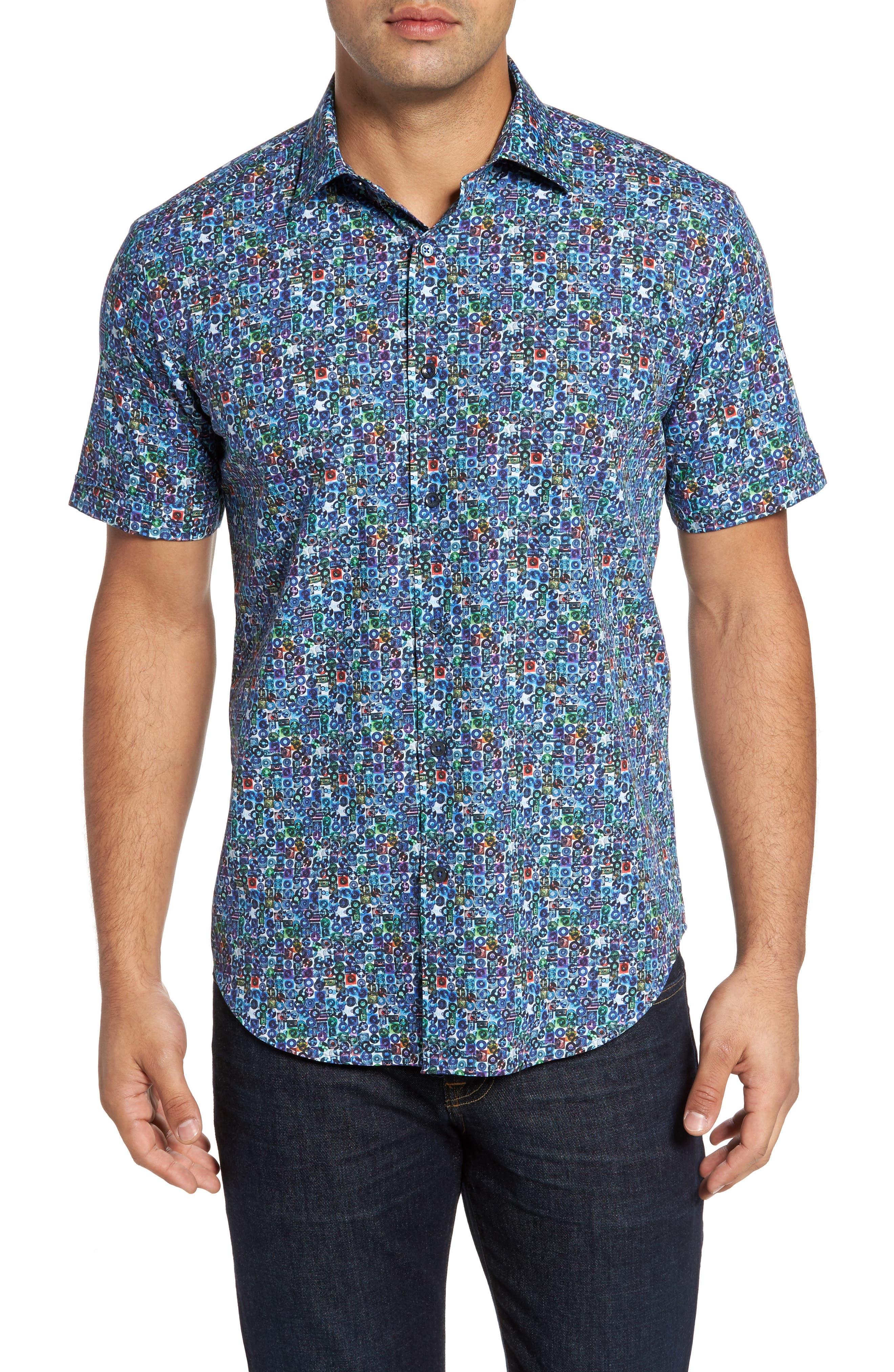 Shaped Fit Print Sport Shirt,                             Main thumbnail 1, color,                             513