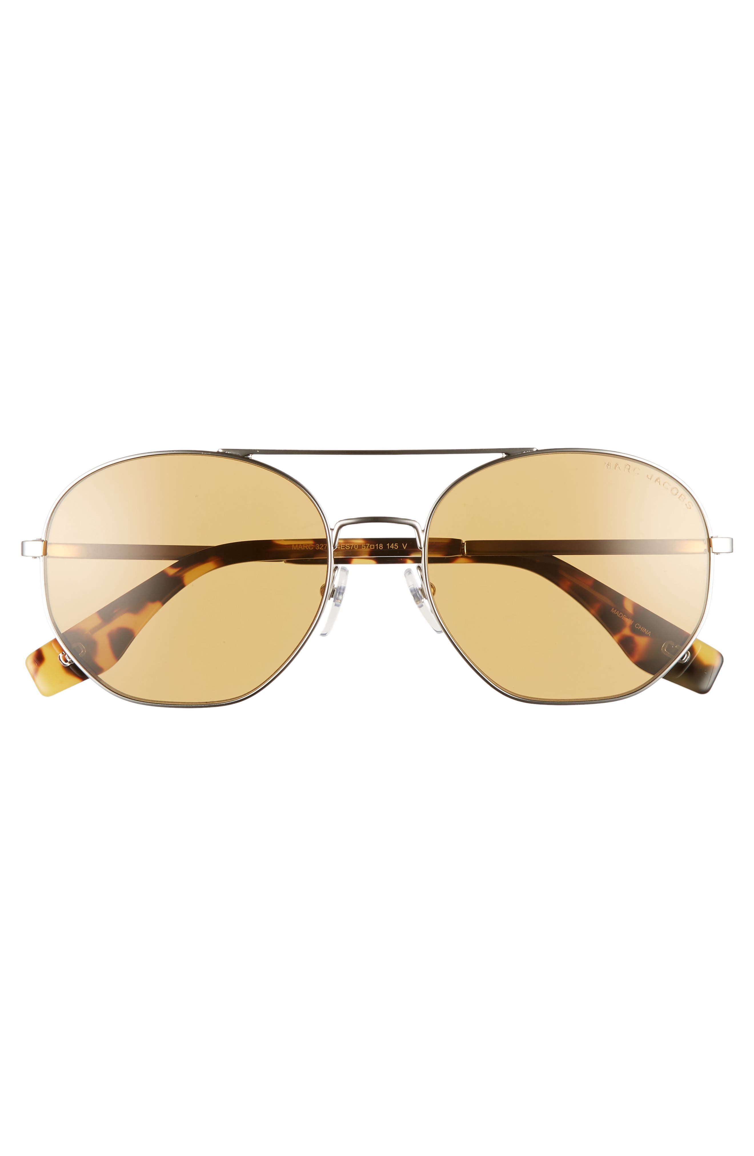 57mm Round Aviator Sunglasses,                             Alternate thumbnail 3, color,                             SILVER/ BROWN