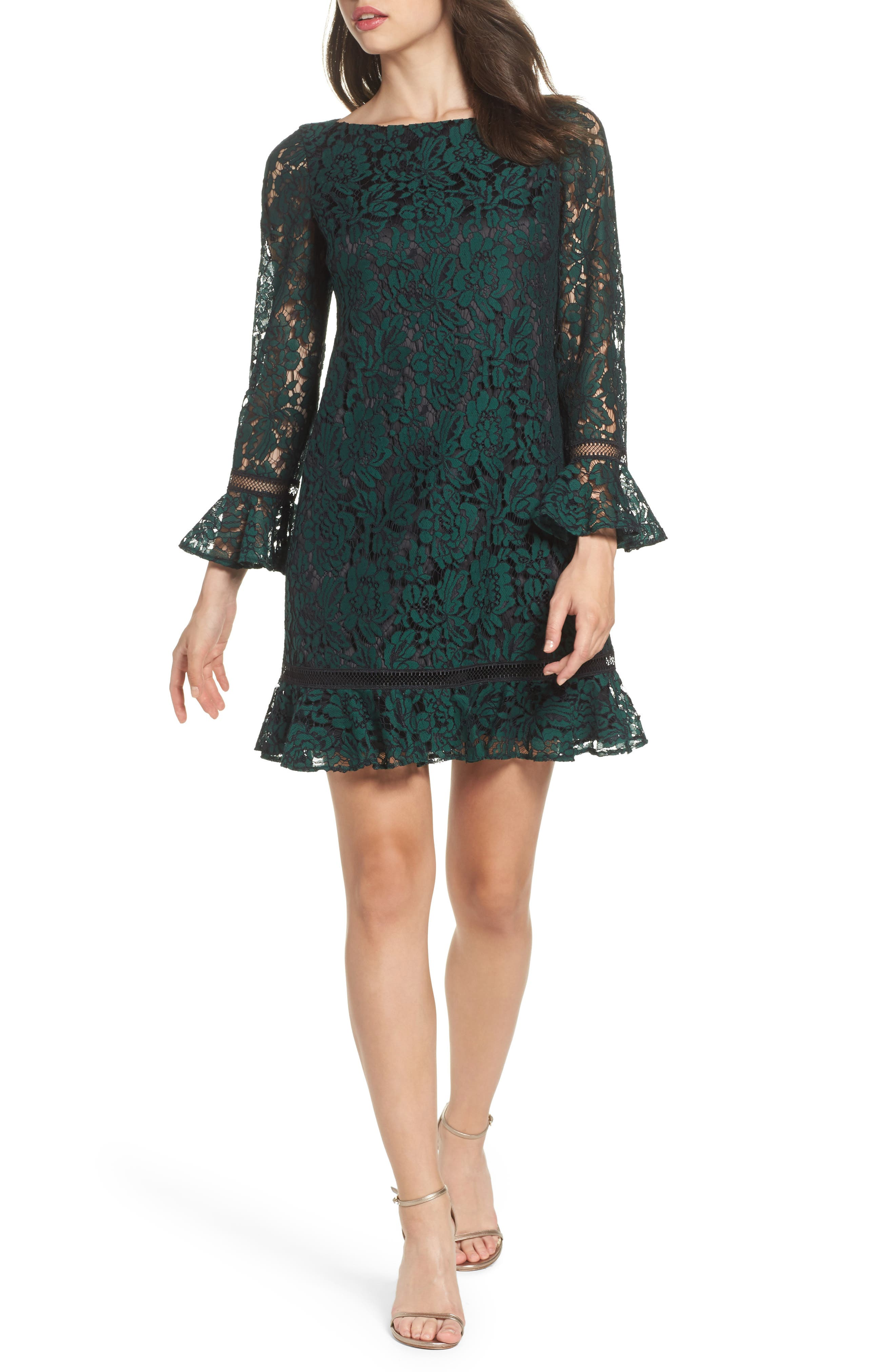 Bell Sleeve Lace Shift Dress,                             Main thumbnail 1, color,                             HUNTER
