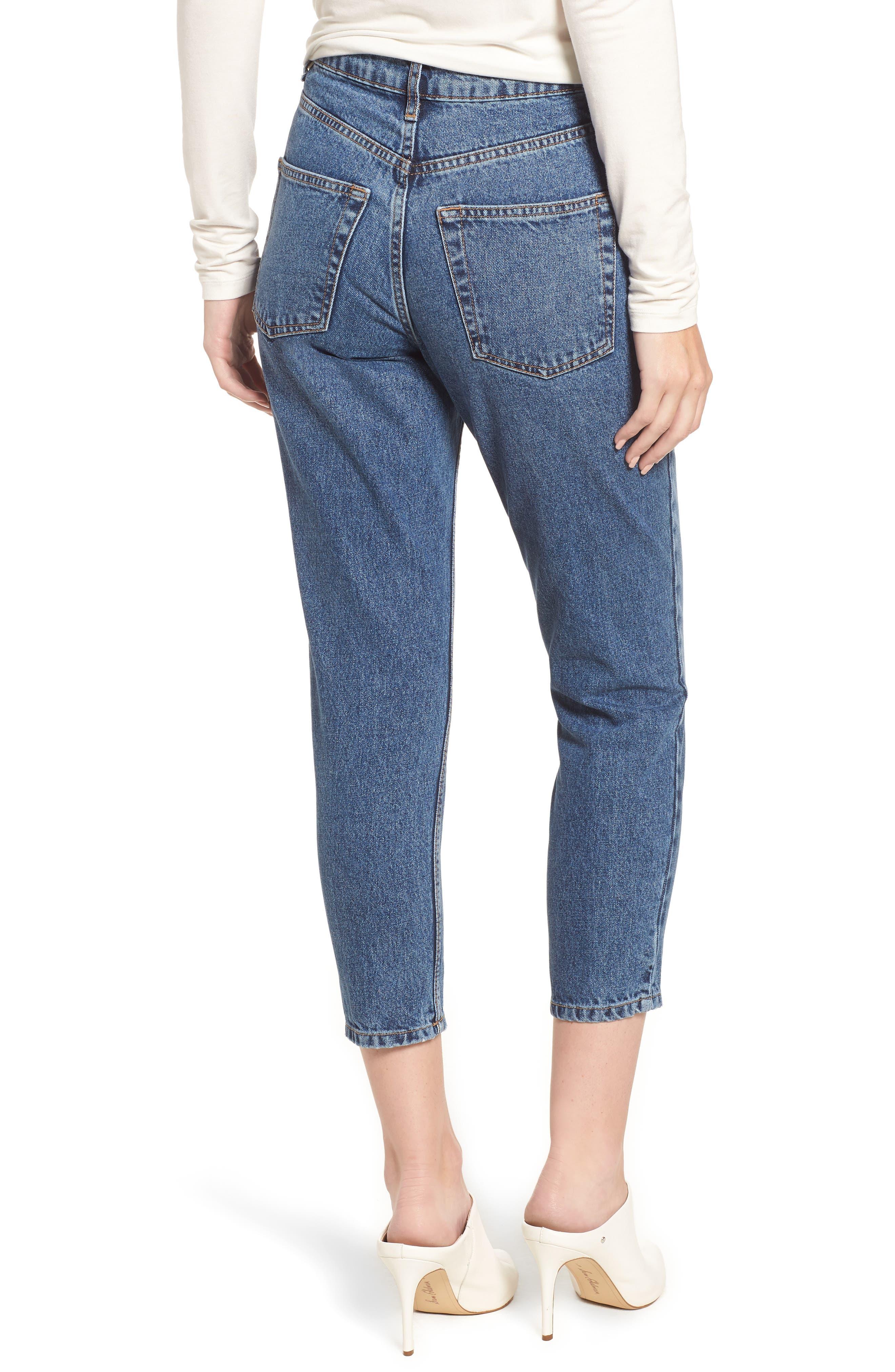 Petite Mid Denim Mom Jeans,                             Alternate thumbnail 2, color,                             MID DENIM