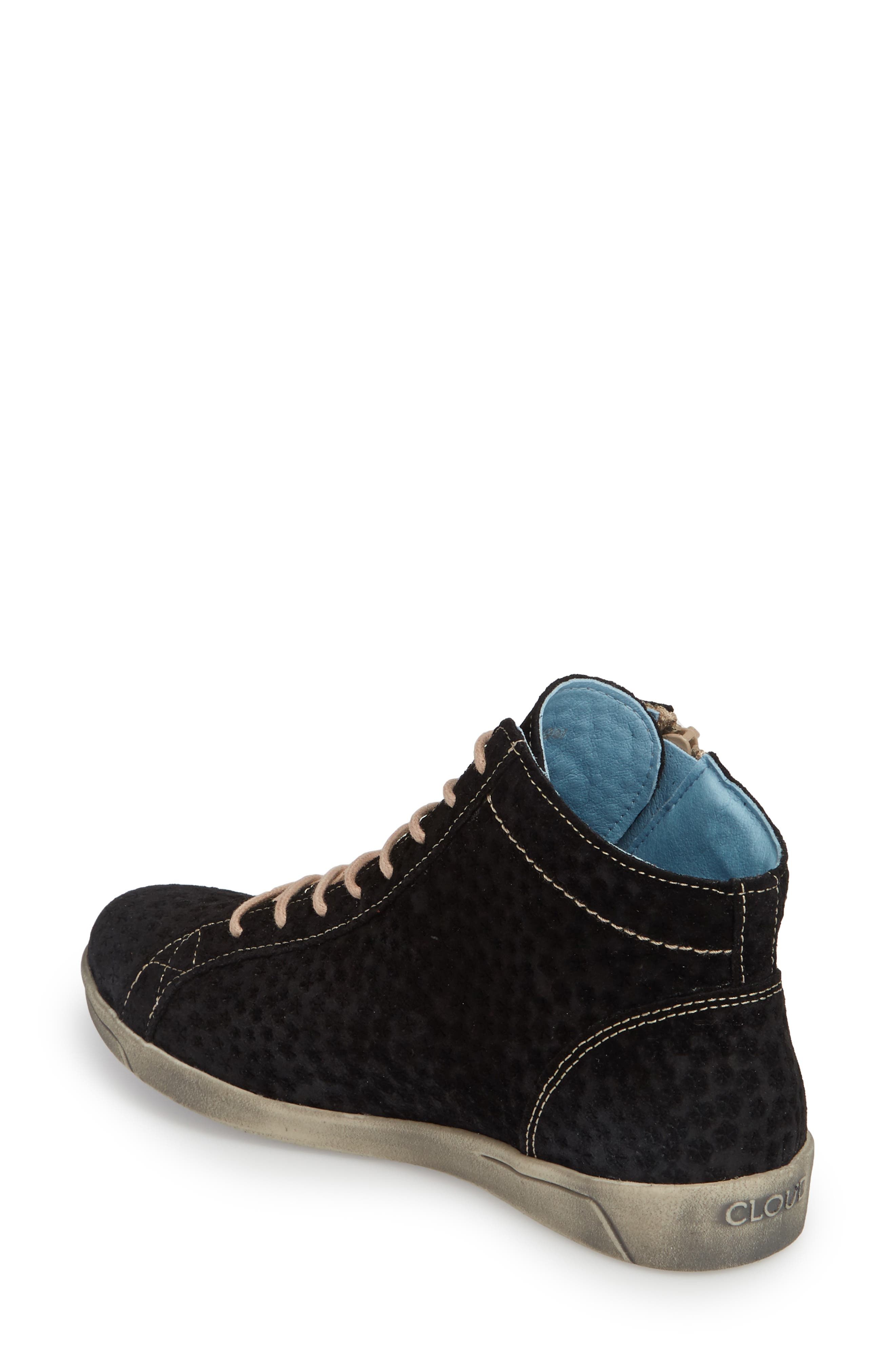 Aika Star Perforated High Top Sneaker,                             Alternate thumbnail 2, color,                             BLACK LEATHER