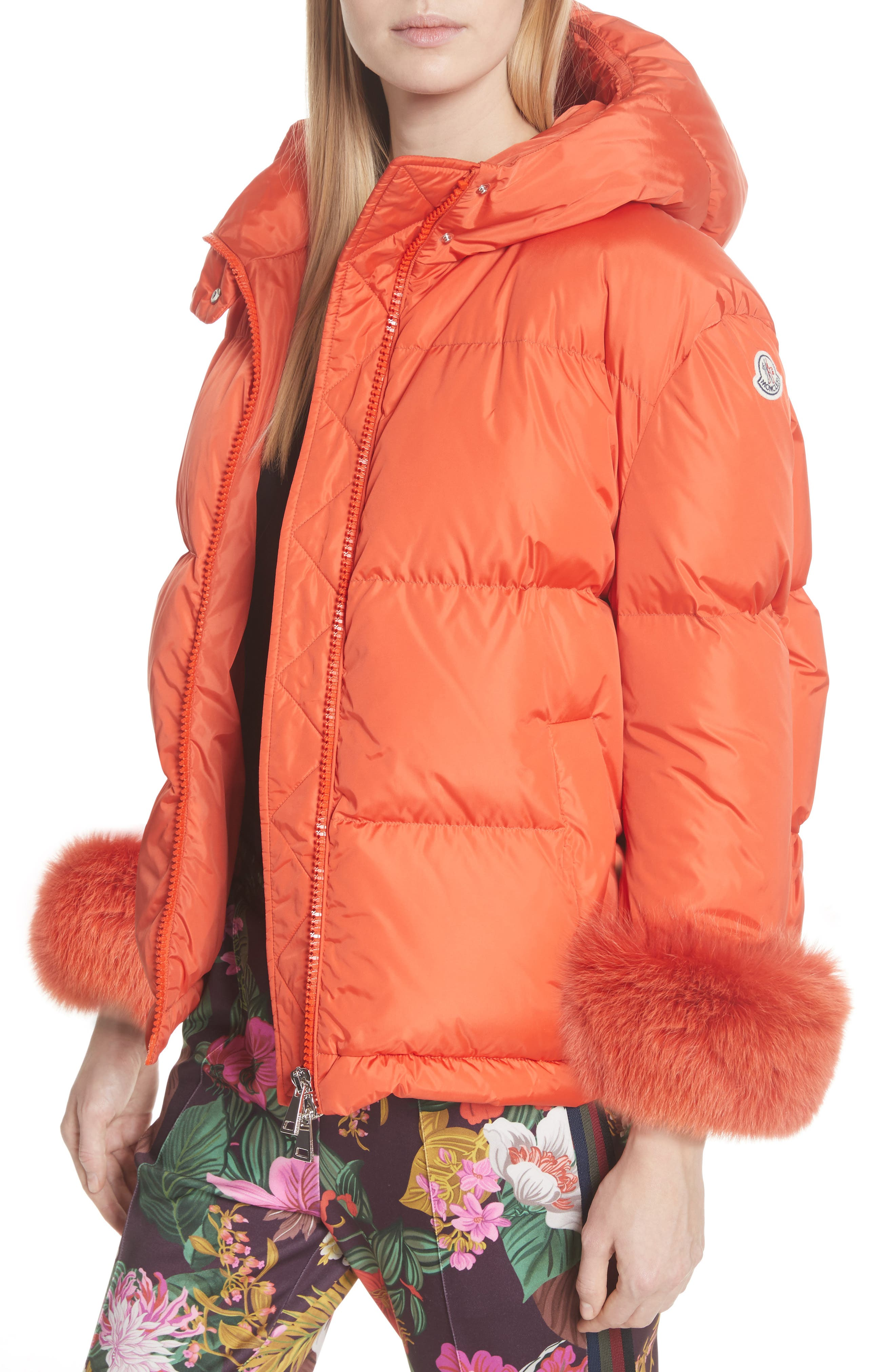 MONCLER,                             Effraie Hooded Down Coat with Removable Genuine Fox Fur Cuffs,                             Alternate thumbnail 5, color,                             ORANGE