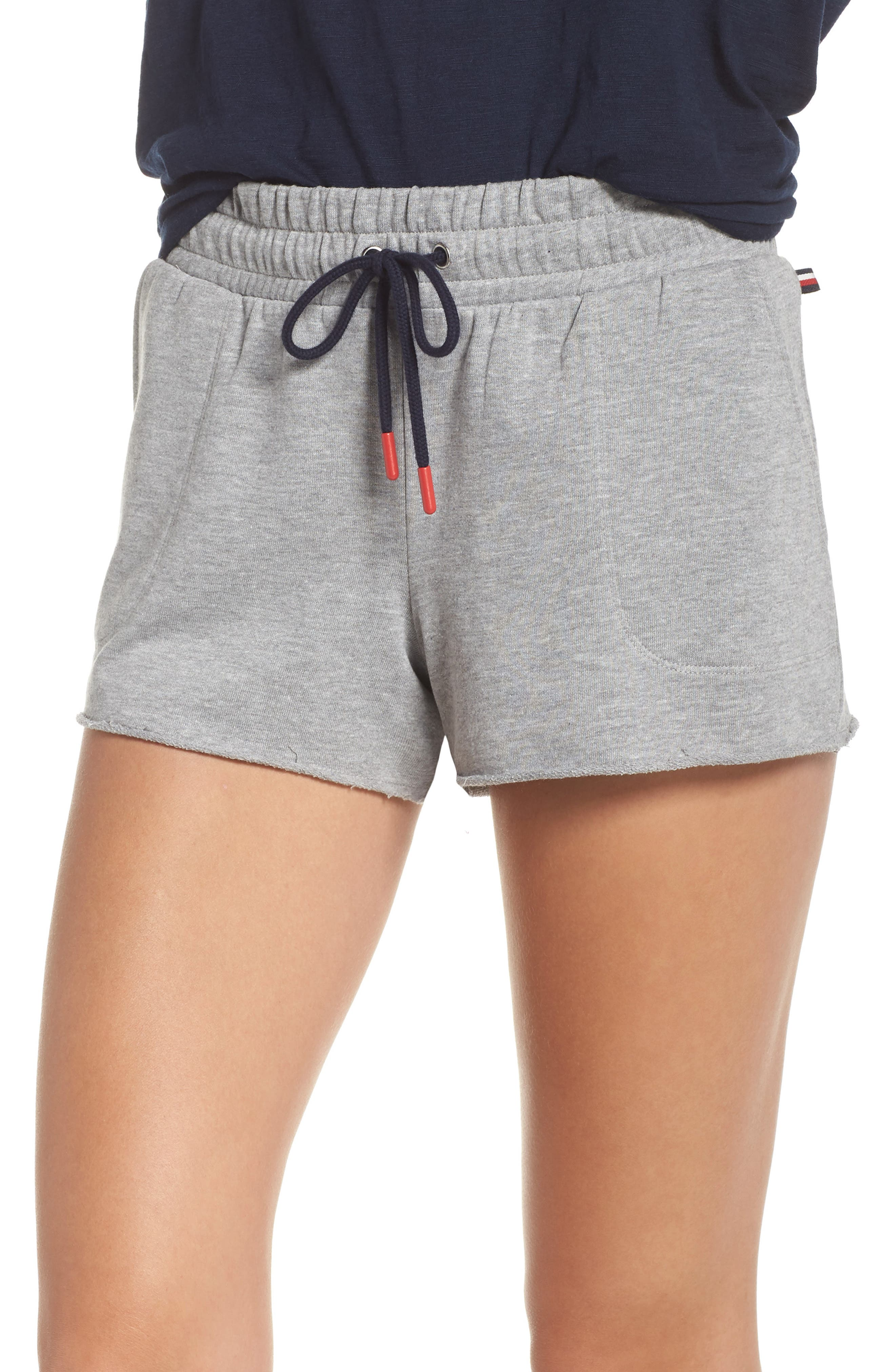 Raw Edge Pajama Shorts,                             Main thumbnail 1, color,                             020