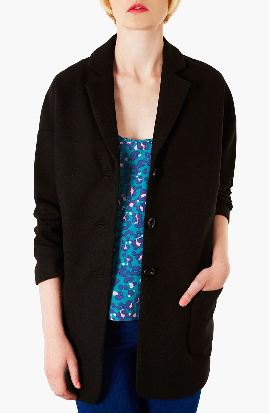 TOPSHOP 'Wilma' Oversized Boyfriend Coat, Main, color, 001